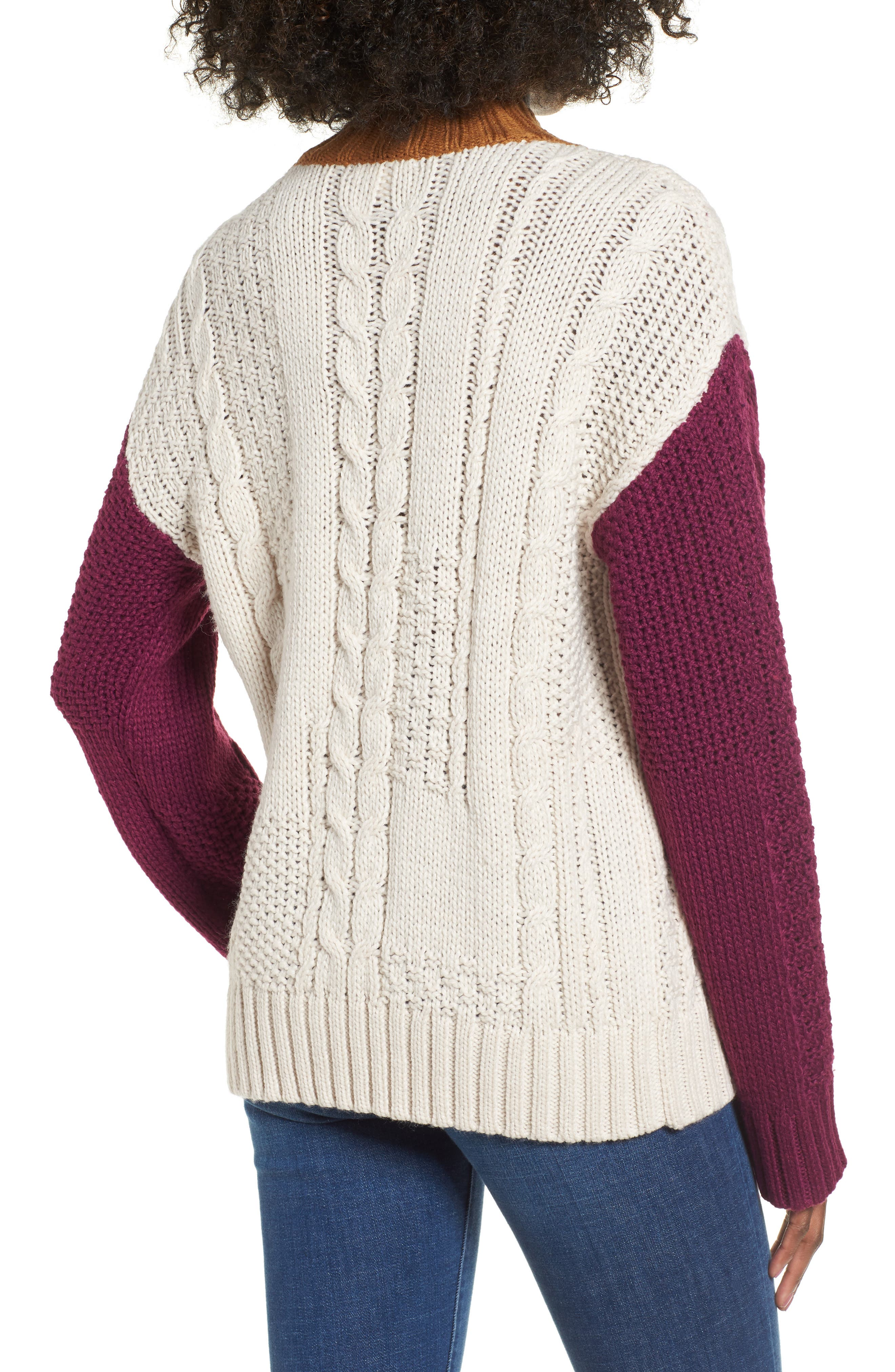 Colorblock Cable Knit Pullover,                             Alternate thumbnail 3, color,                             270