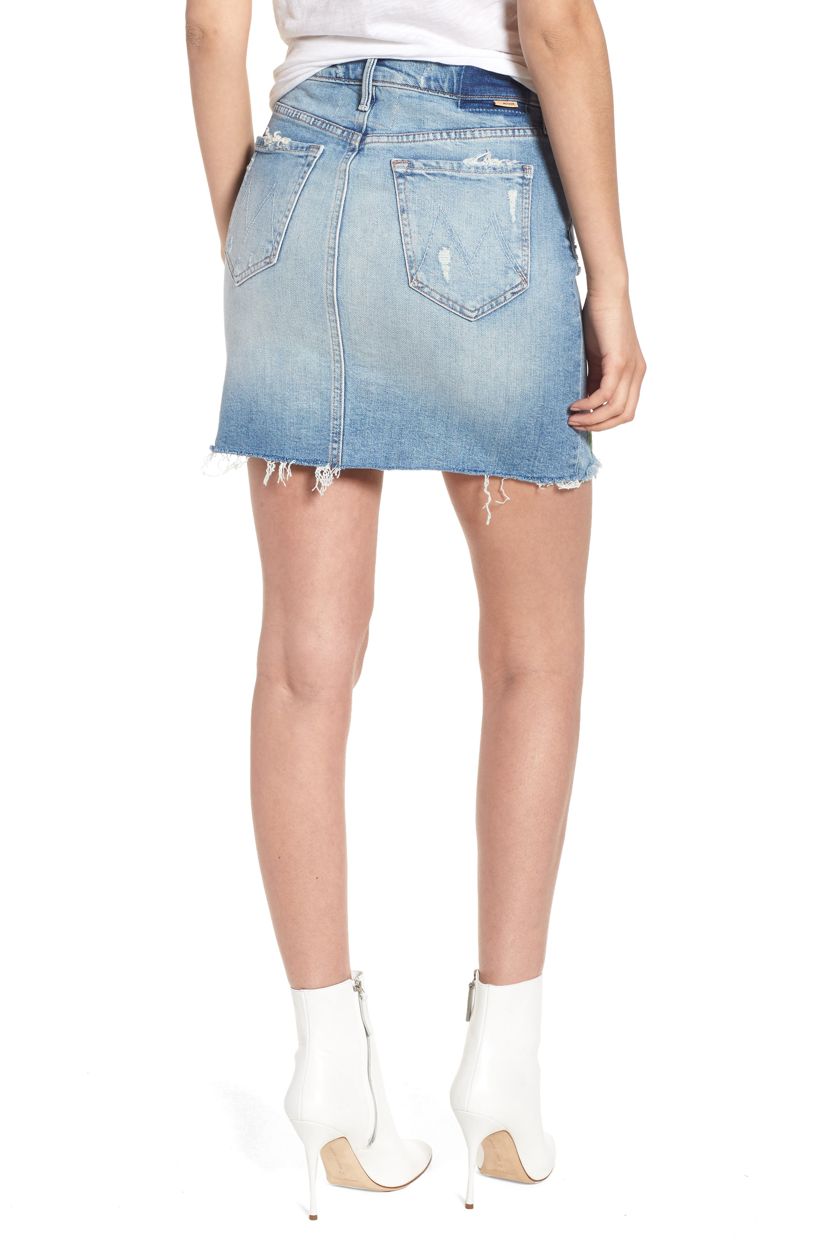 High Waist Fray Straight Denim Miniskirt,                             Alternate thumbnail 2, color,