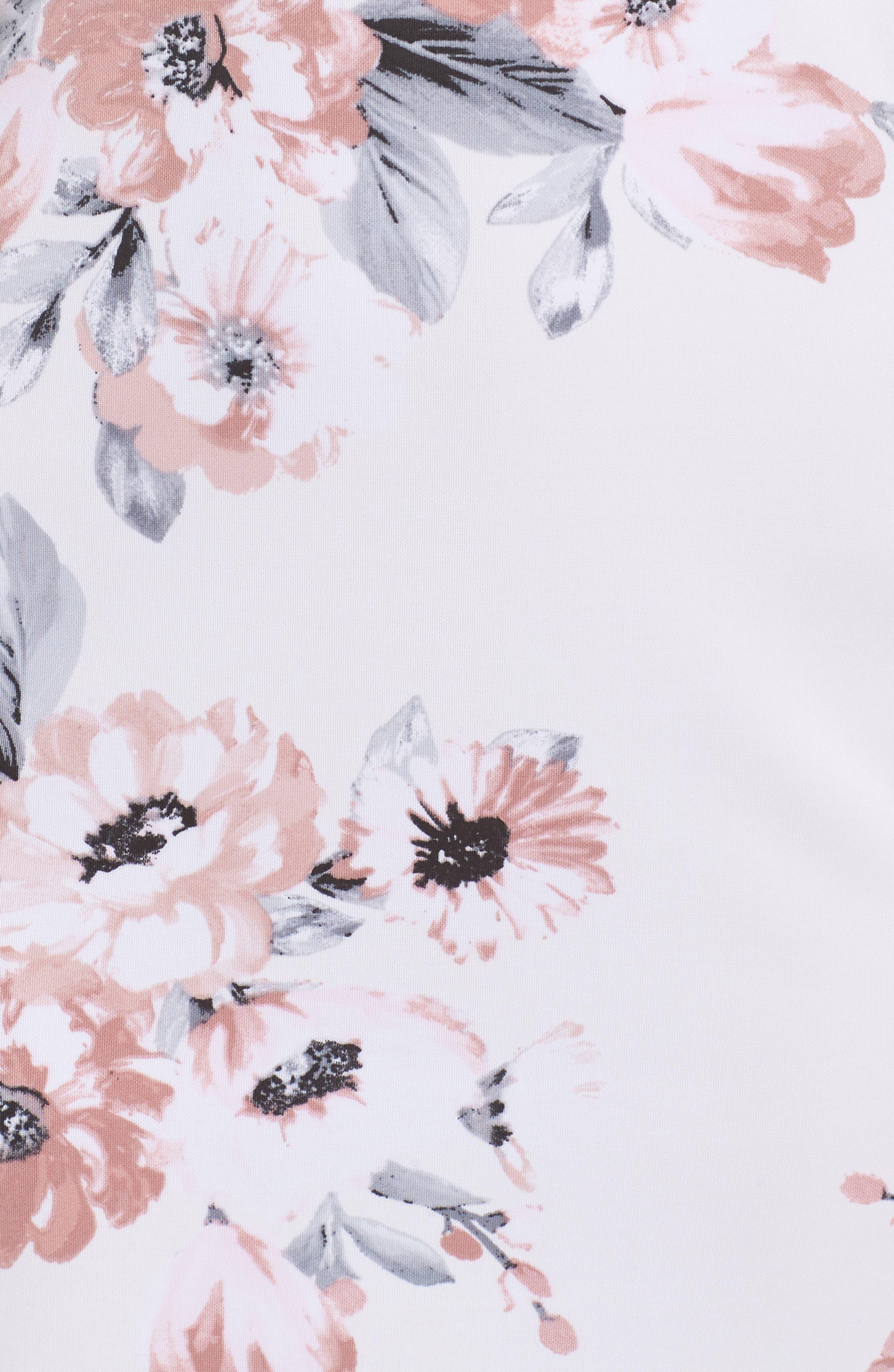 Floral Print Double Strap Scuba Dress,                             Alternate thumbnail 5, color,                             IVORY/ MAUVE