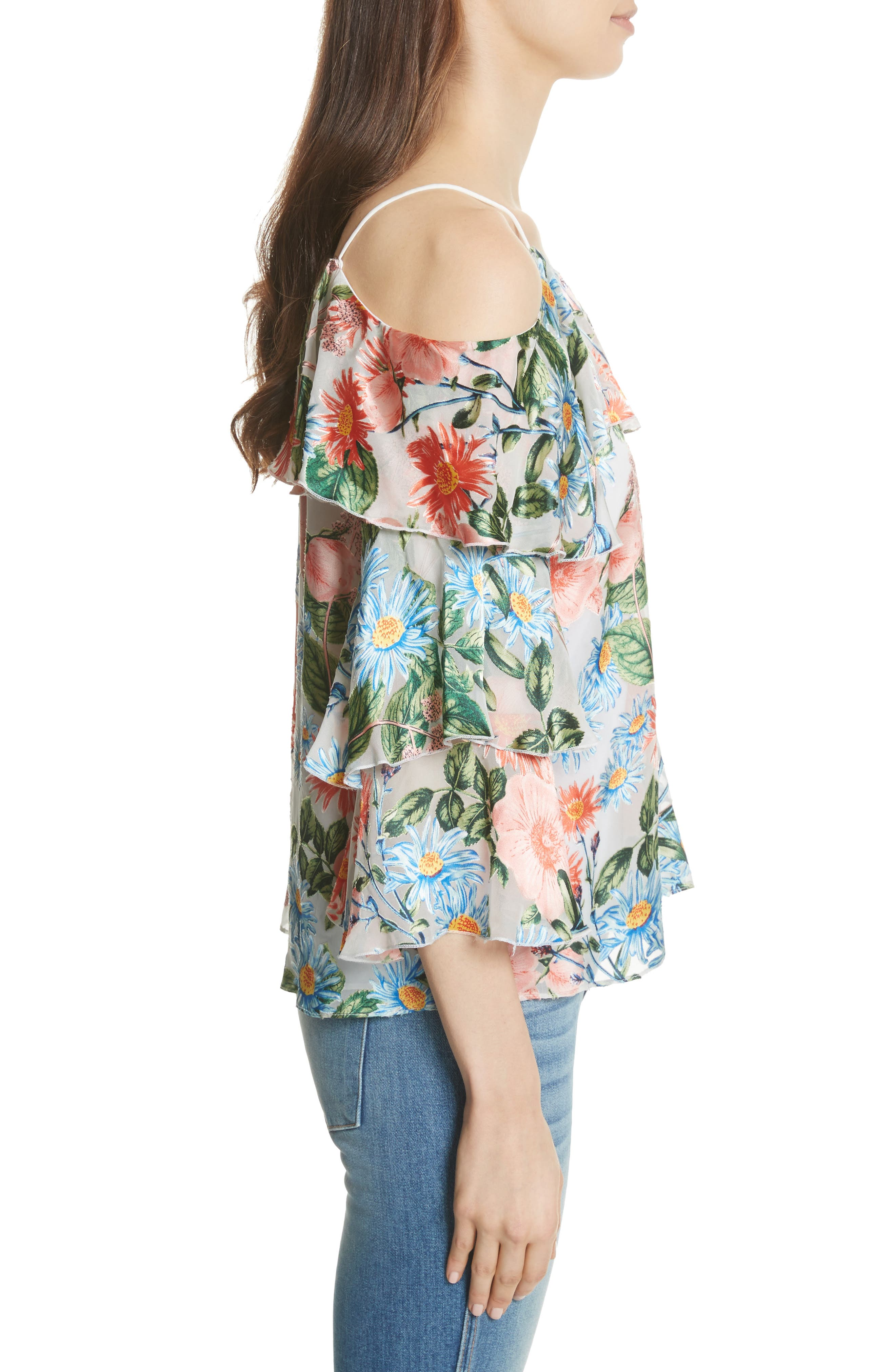 Marylee Floral Off the Shoulder Blouse,                             Alternate thumbnail 3, color,                             470
