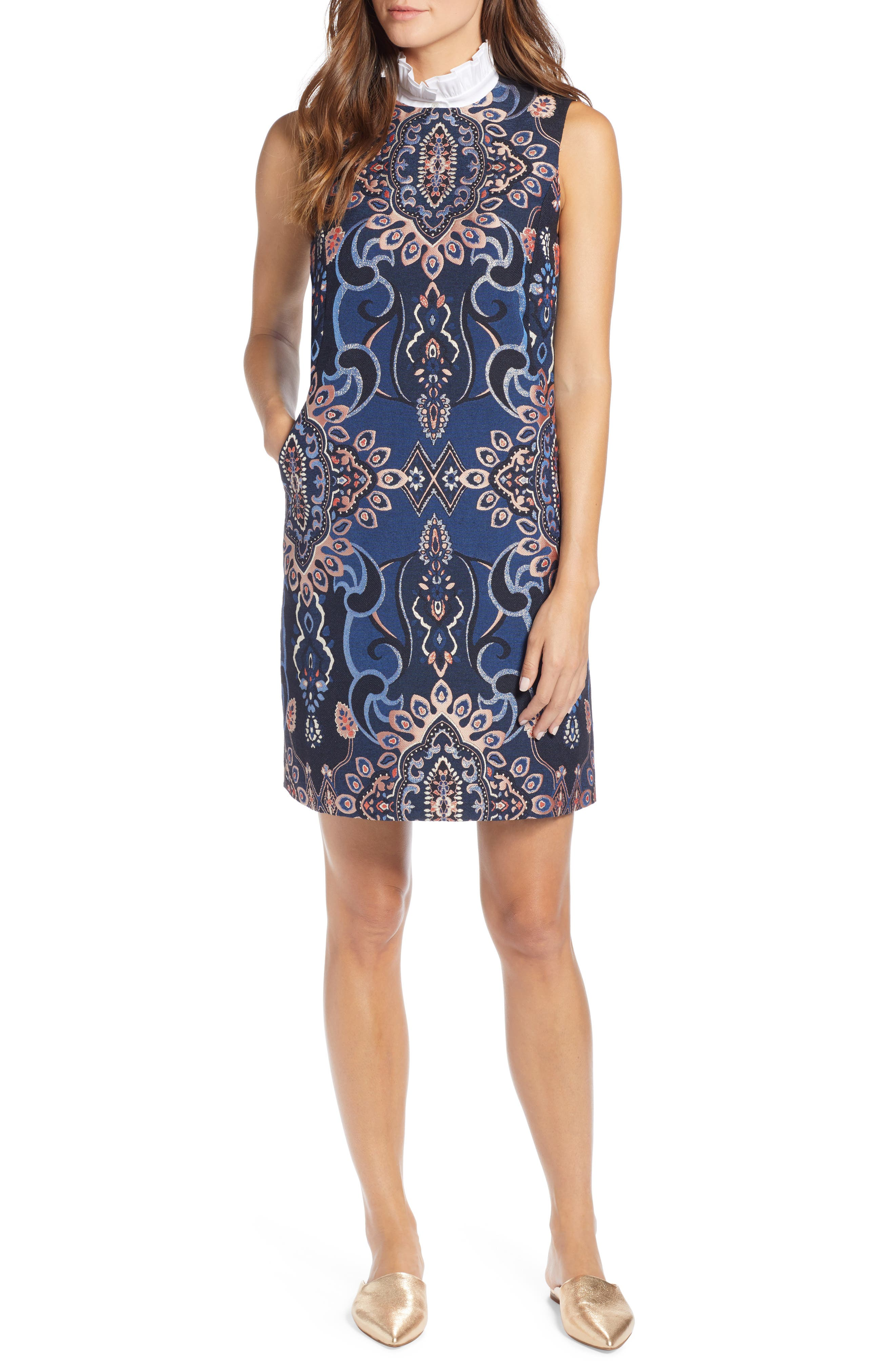 Brocade Shift Dress, Main, color, NAVY MULTI BROCADE
