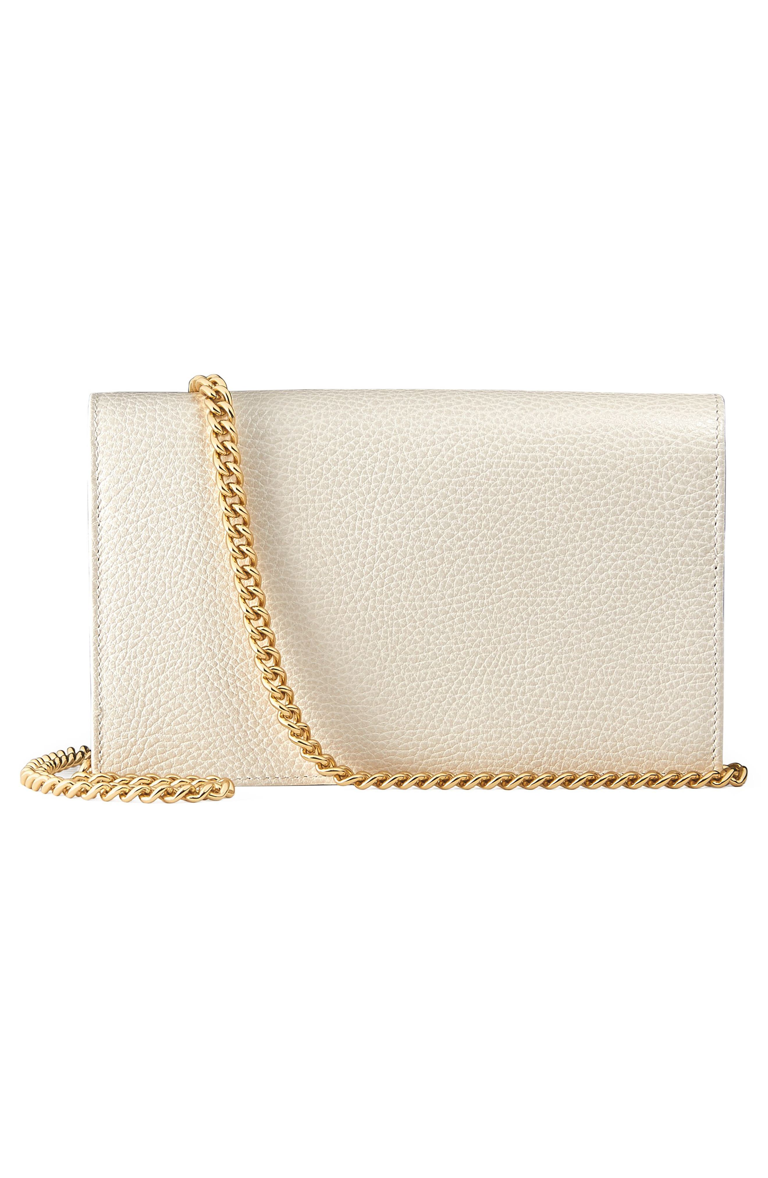 Petite Marmont Leather Wallet on a Chain,                             Alternate thumbnail 15, color,
