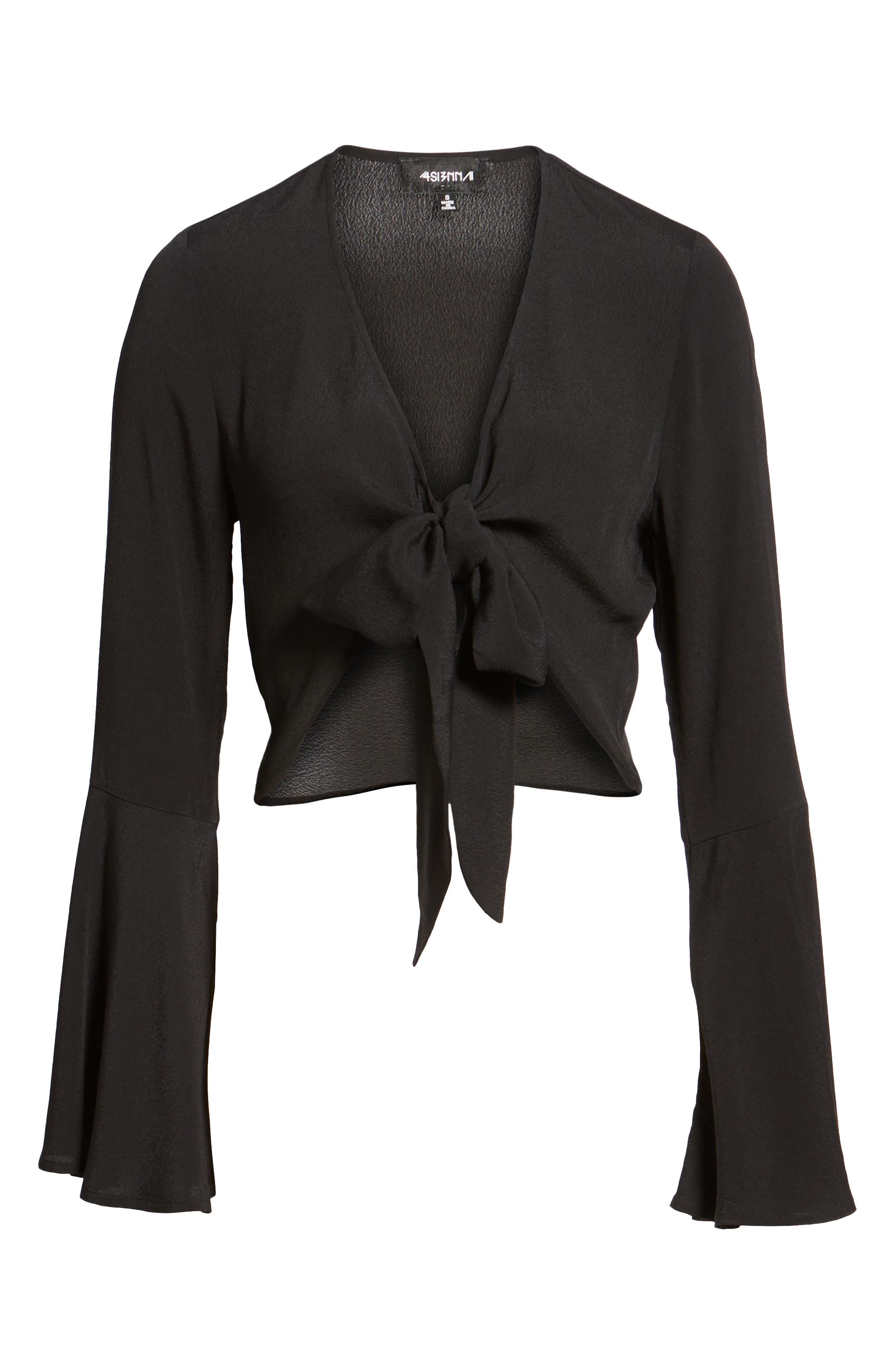 Tie Front Bell Sleeve Top,                             Alternate thumbnail 6, color,                             001