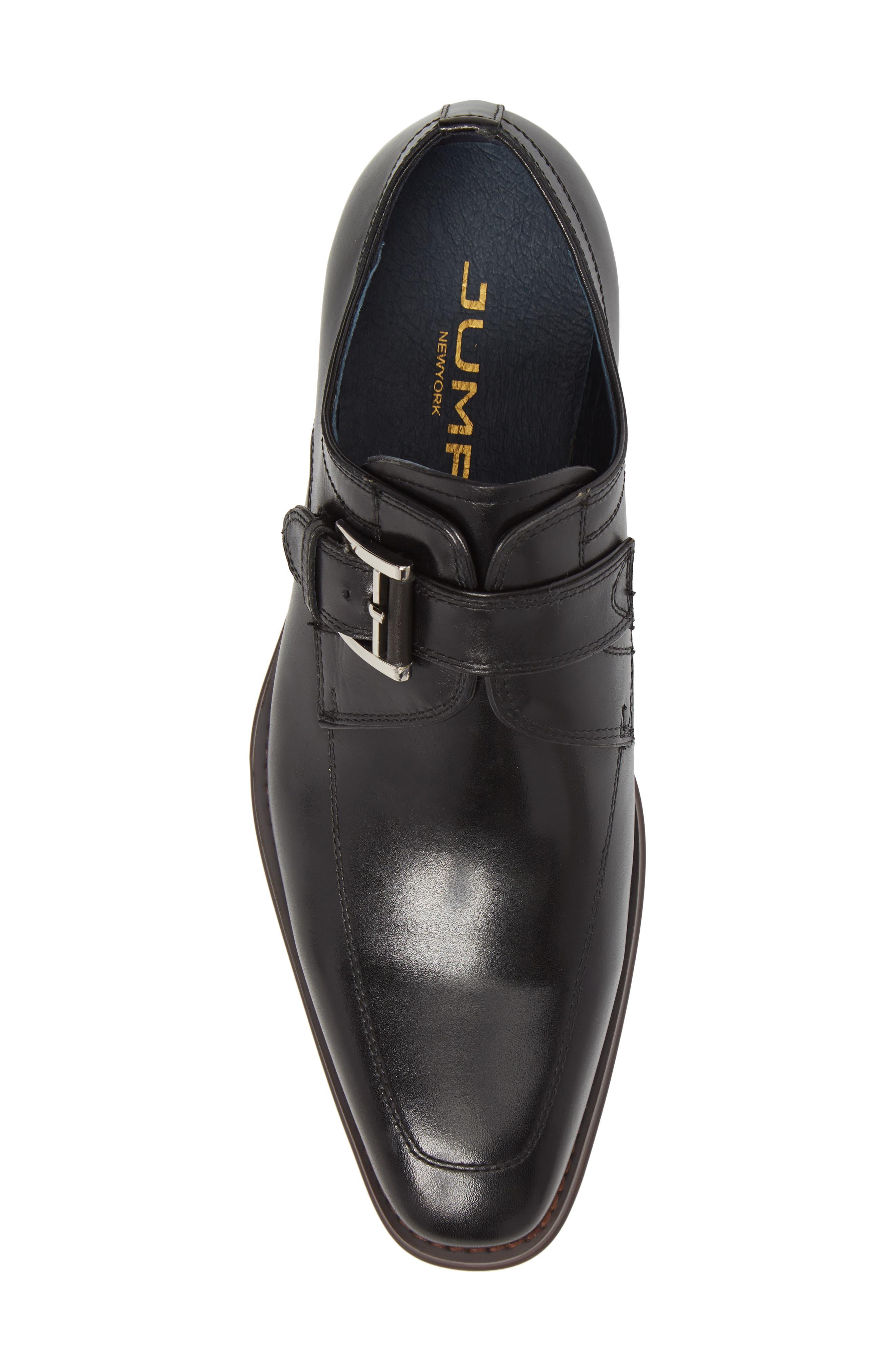Merlot Single Buckle Monk Shoe,                             Alternate thumbnail 5, color,                             BLACK LEATHER
