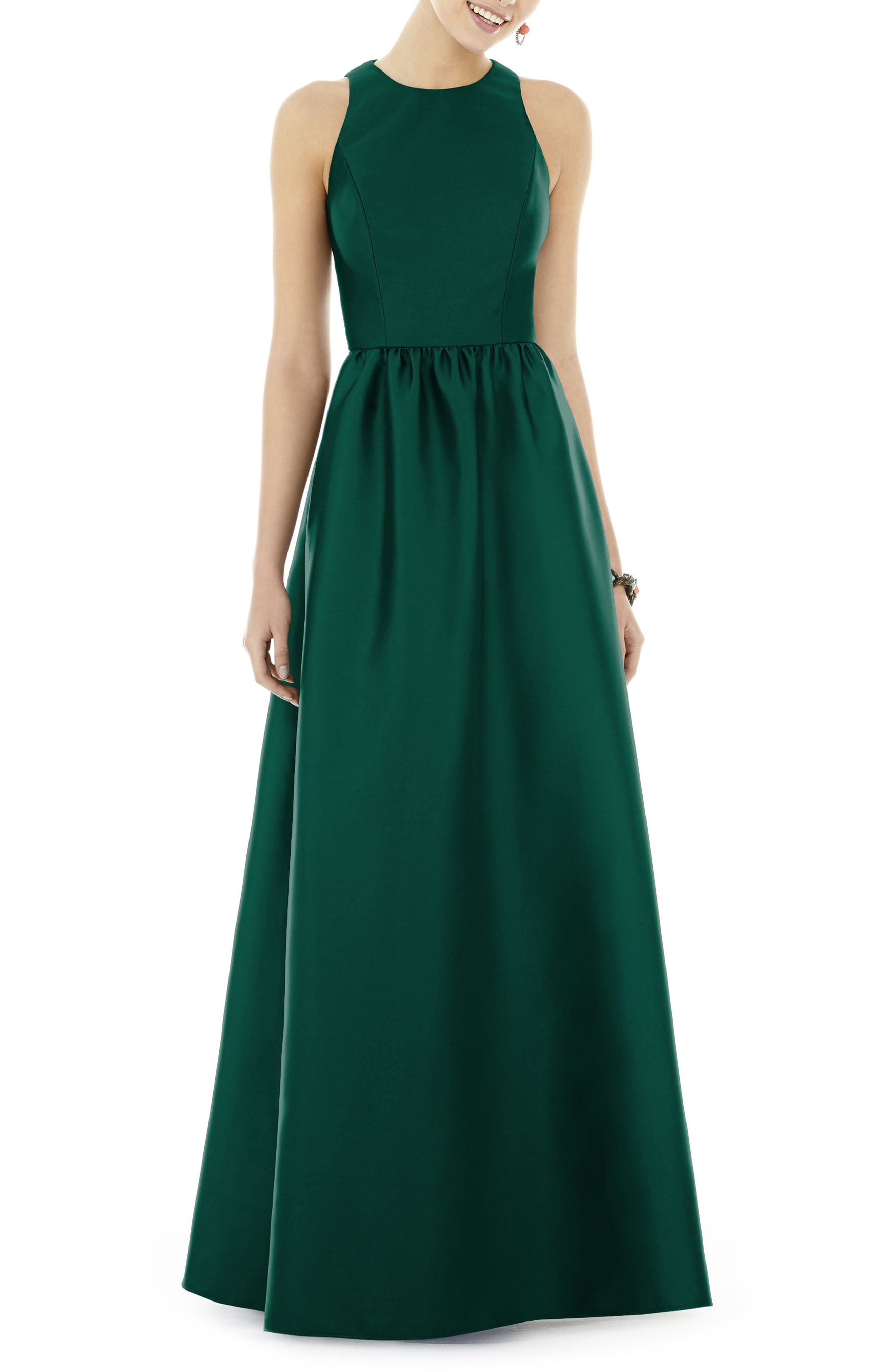 ALFRED SUNG,                             Sateen Gown,                             Main thumbnail 1, color,                             HUNTER