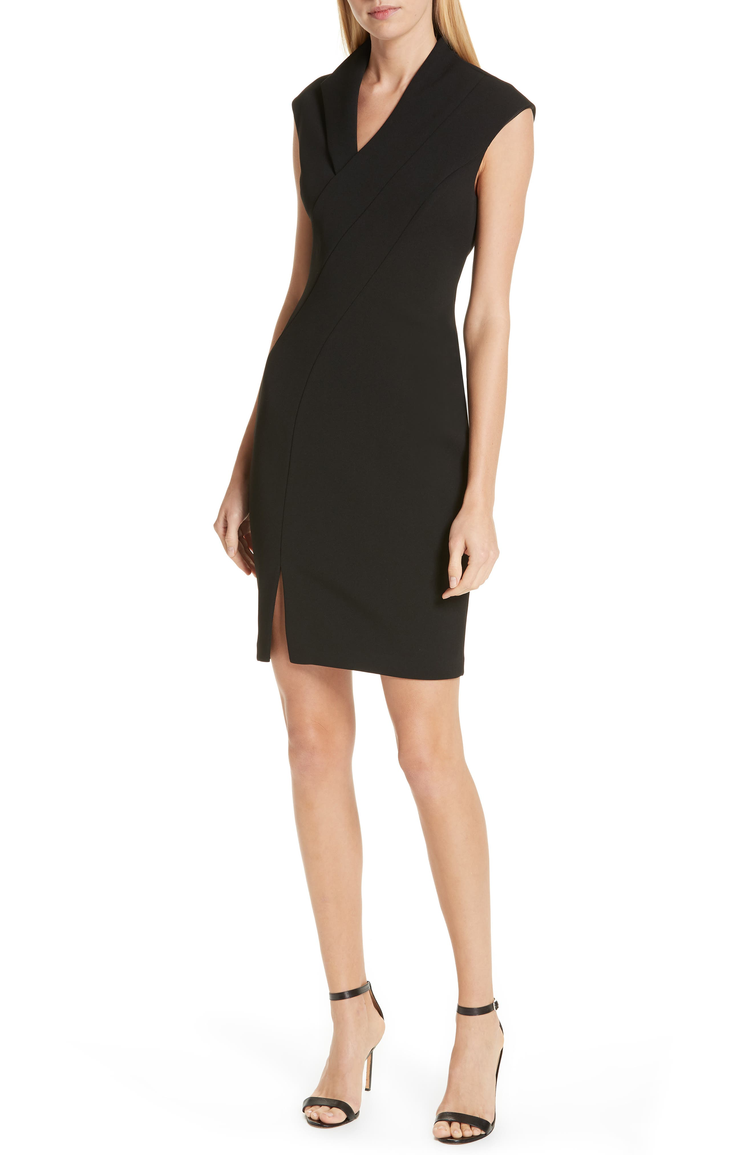 Geodese Faux Wrap Pencil Dress,                         Main,                         color, BLACK
