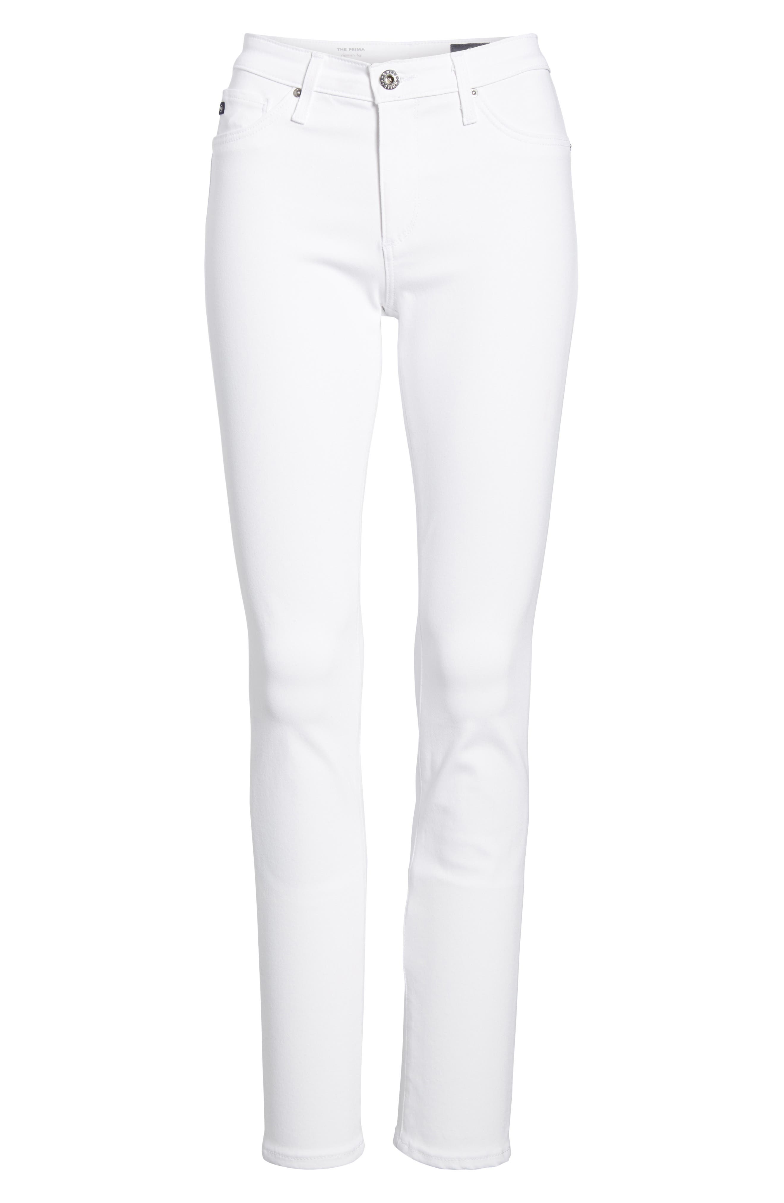Prima Cigarette Leg Jeans,                             Alternate thumbnail 7, color,                             WHITE
