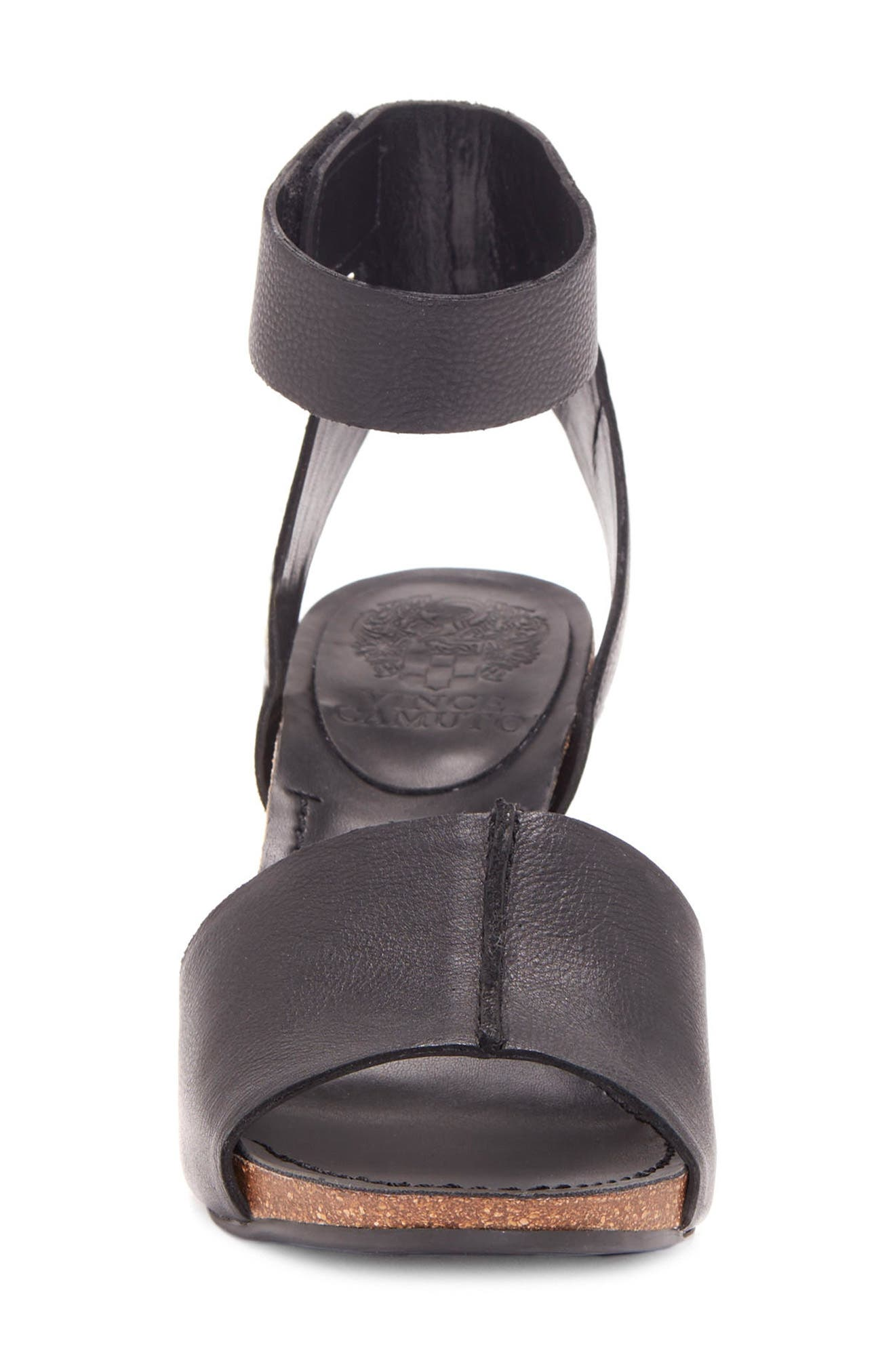 Odela Sandal,                             Alternate thumbnail 4, color,                             BLACK LEATHER