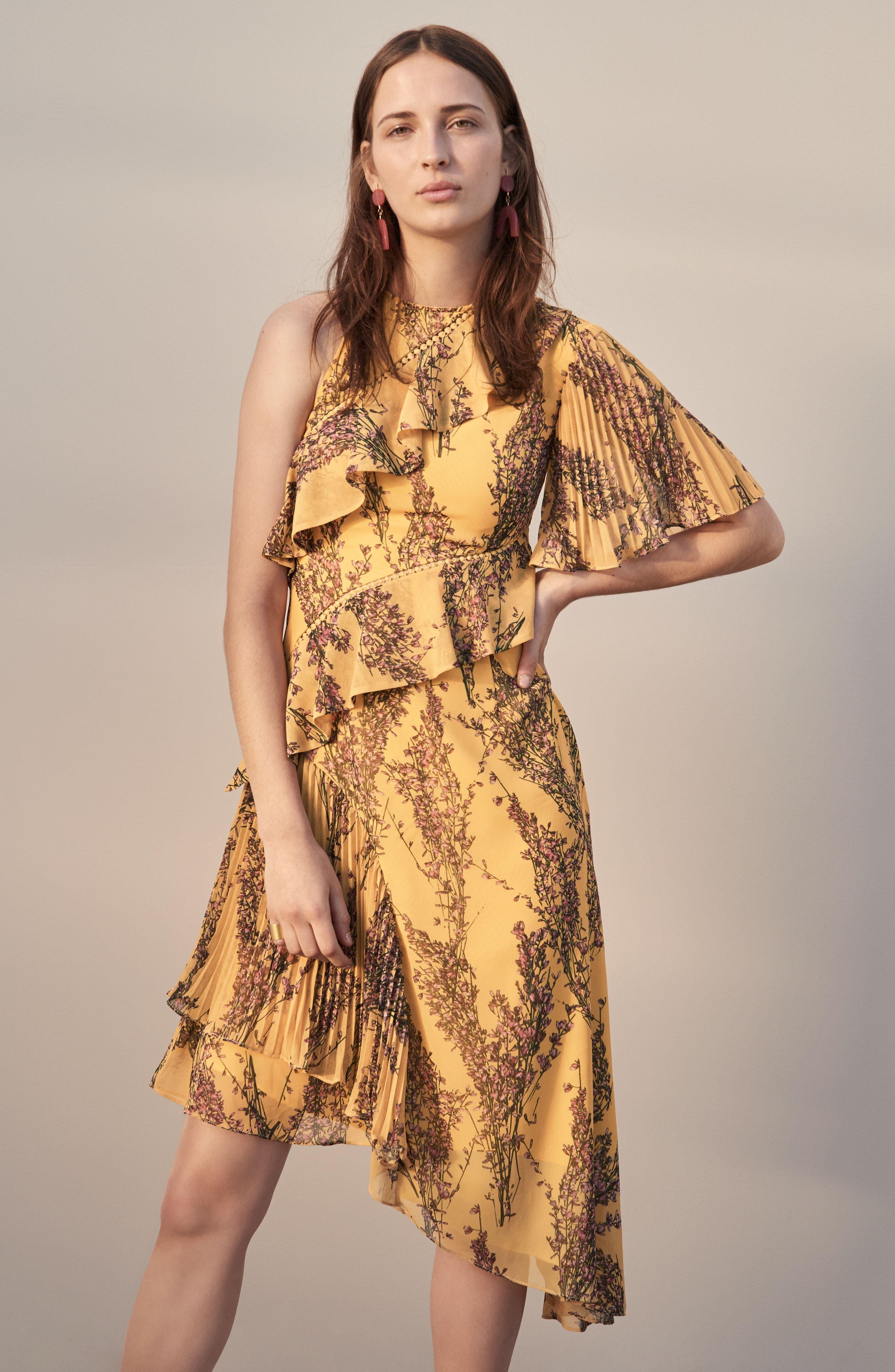 Asymmetrical Ruffle Dress,                             Alternate thumbnail 9, color,                             622