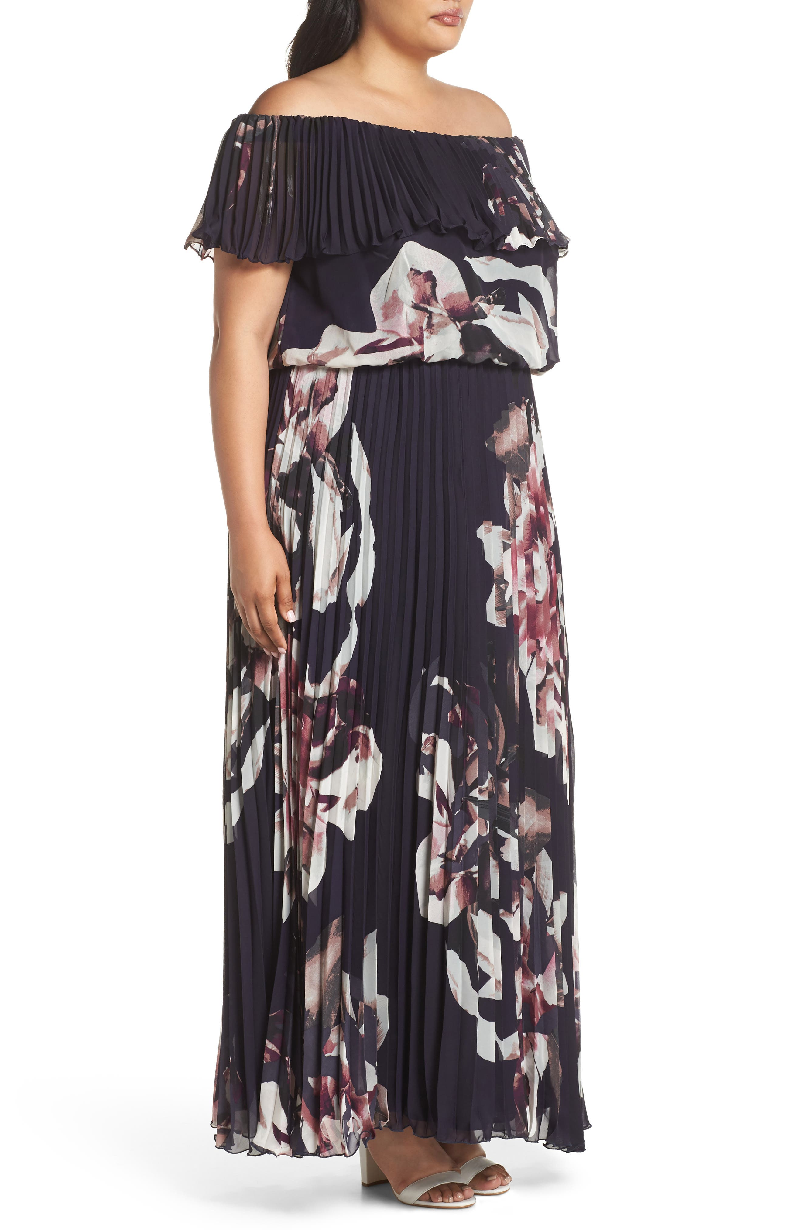 Floral Pleat Off the Shoulder Ruffle Gown,                             Alternate thumbnail 3, color,                             460
