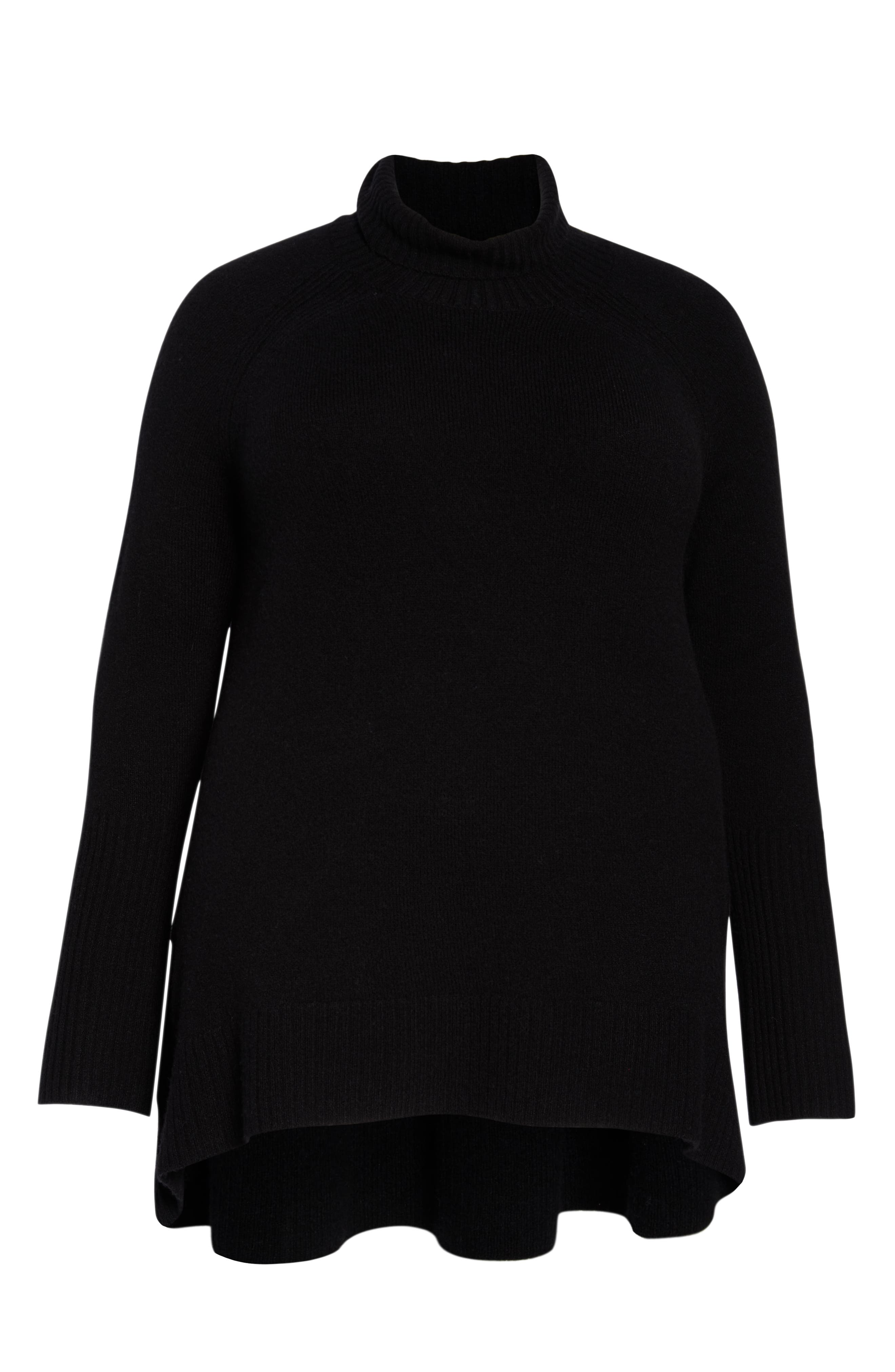 High Low Oversize Wool Blend Sweater,                             Alternate thumbnail 12, color,                             BLACK