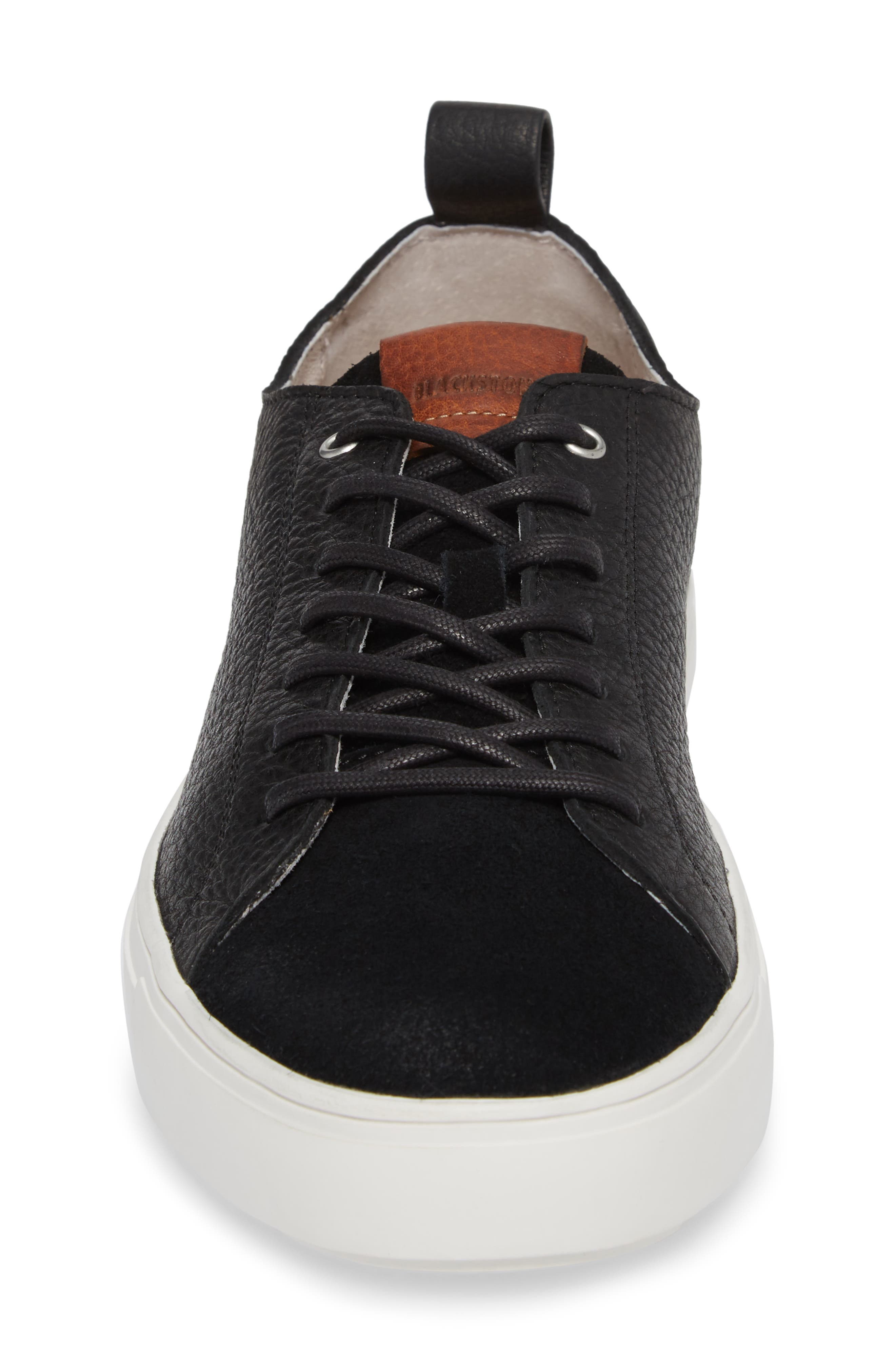 PM46 Low Top Sneaker,                             Alternate thumbnail 4, color,                             BLACK LEATHER