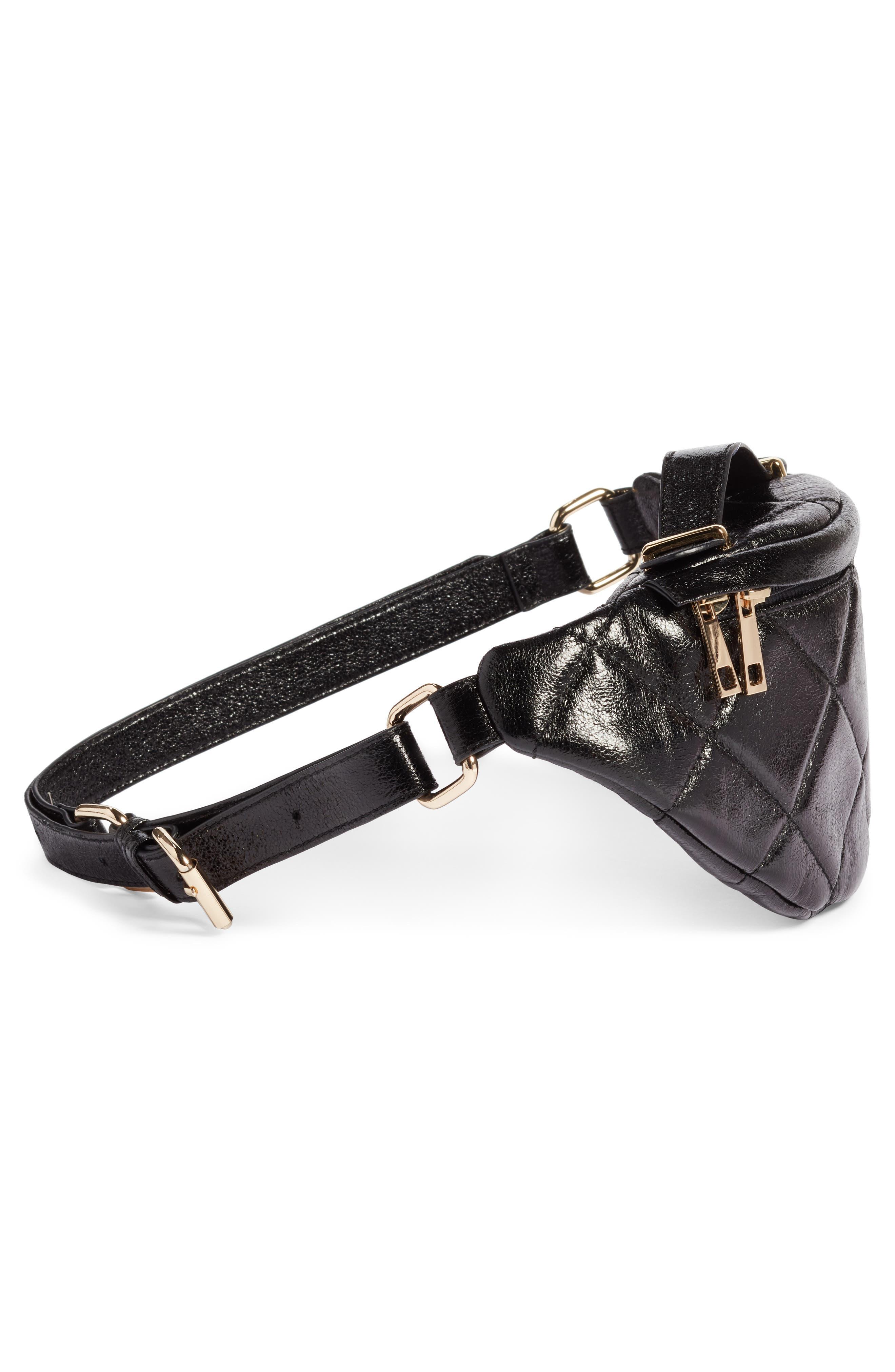 Quilted Faux Leather Belt Bag,                             Alternate thumbnail 5, color,                             BLACK