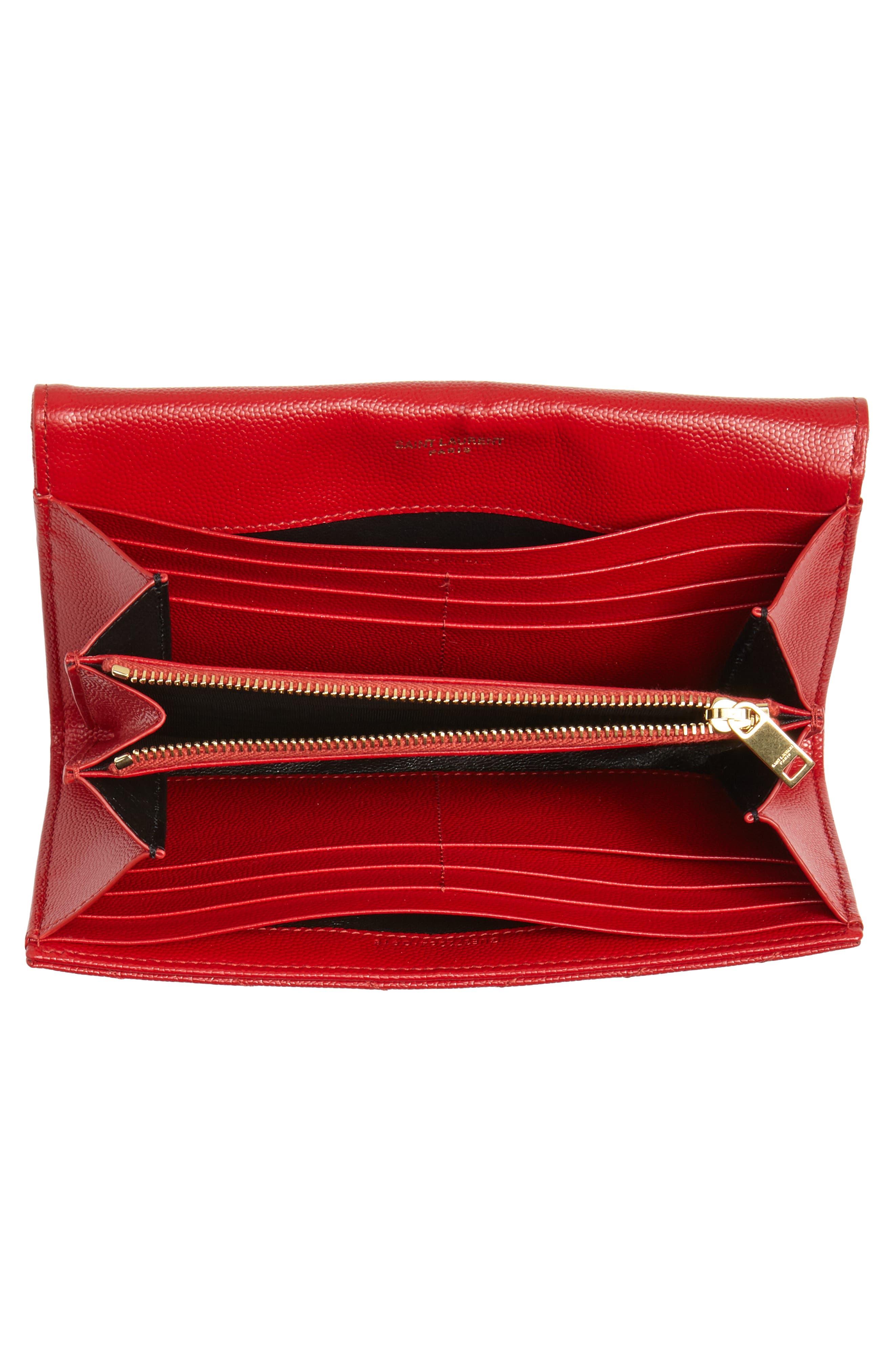 Monogram Logo Leather Flap Wallet,                             Alternate thumbnail 4, color,                             BANDANA RED