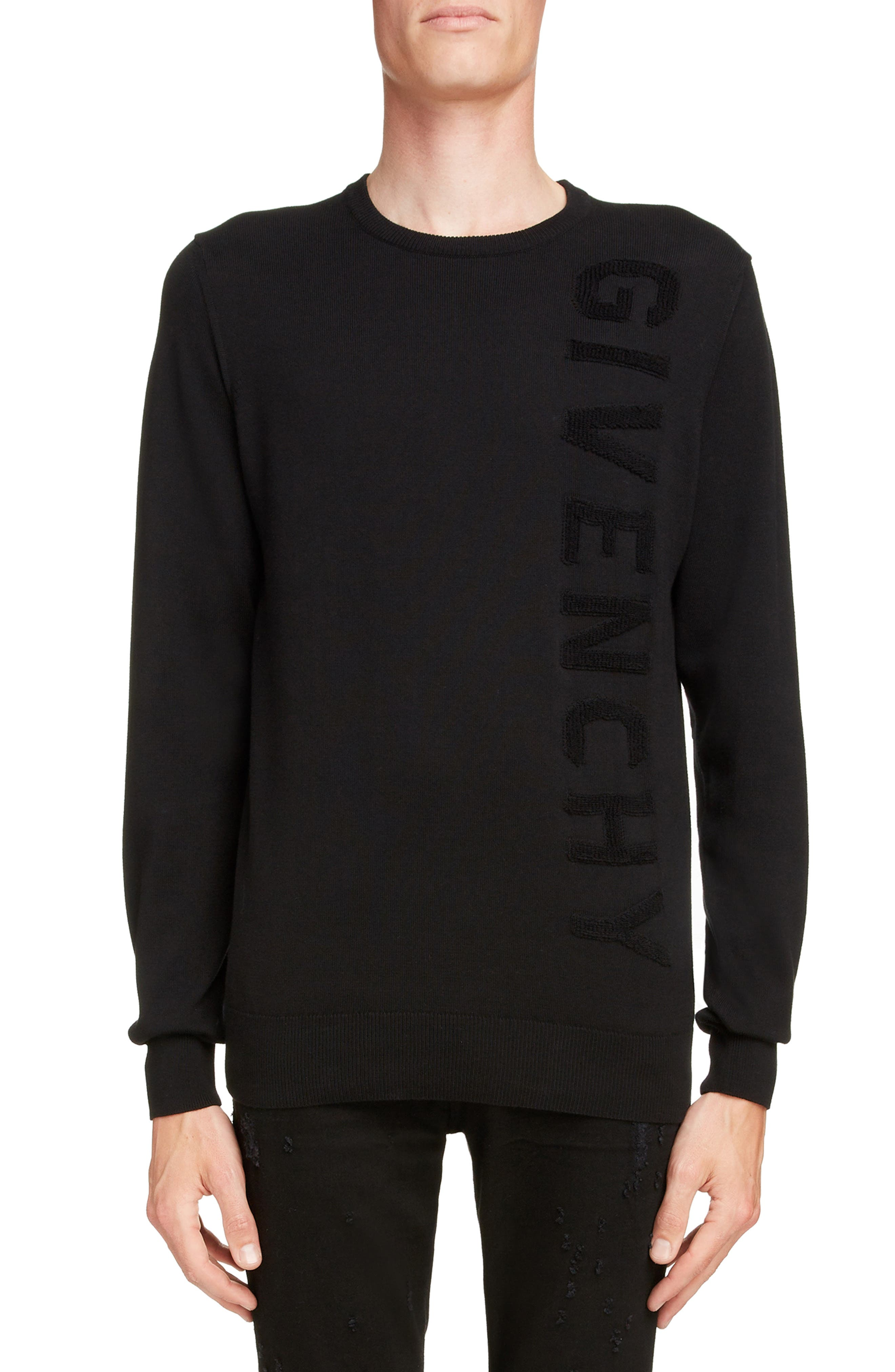 GIVENCHY Tonal Vertical Logo Sweater, Main, color, BLACK