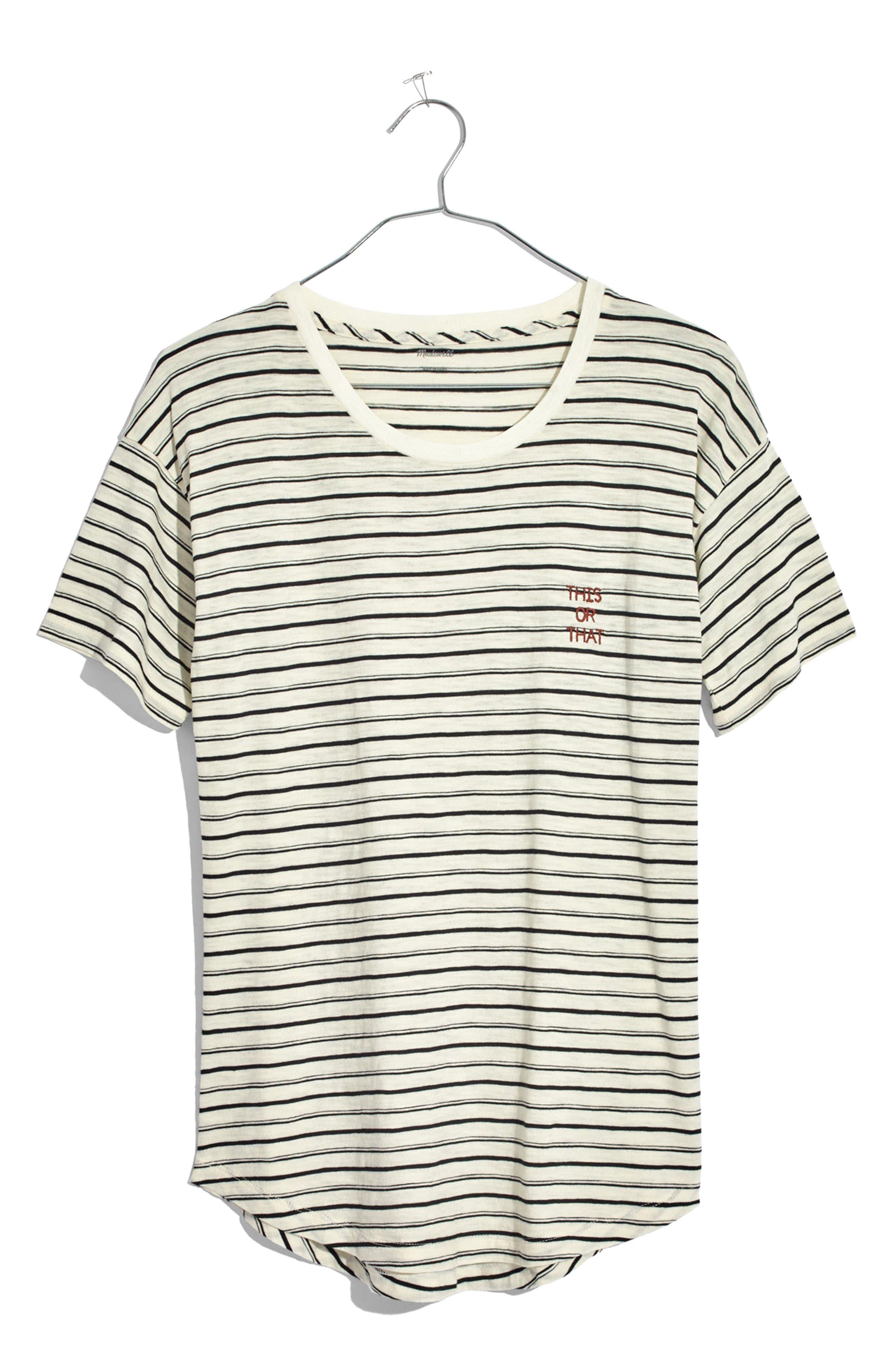 This or That Whisper Cotton Stripe Tee,                             Alternate thumbnail 4, color,                             100