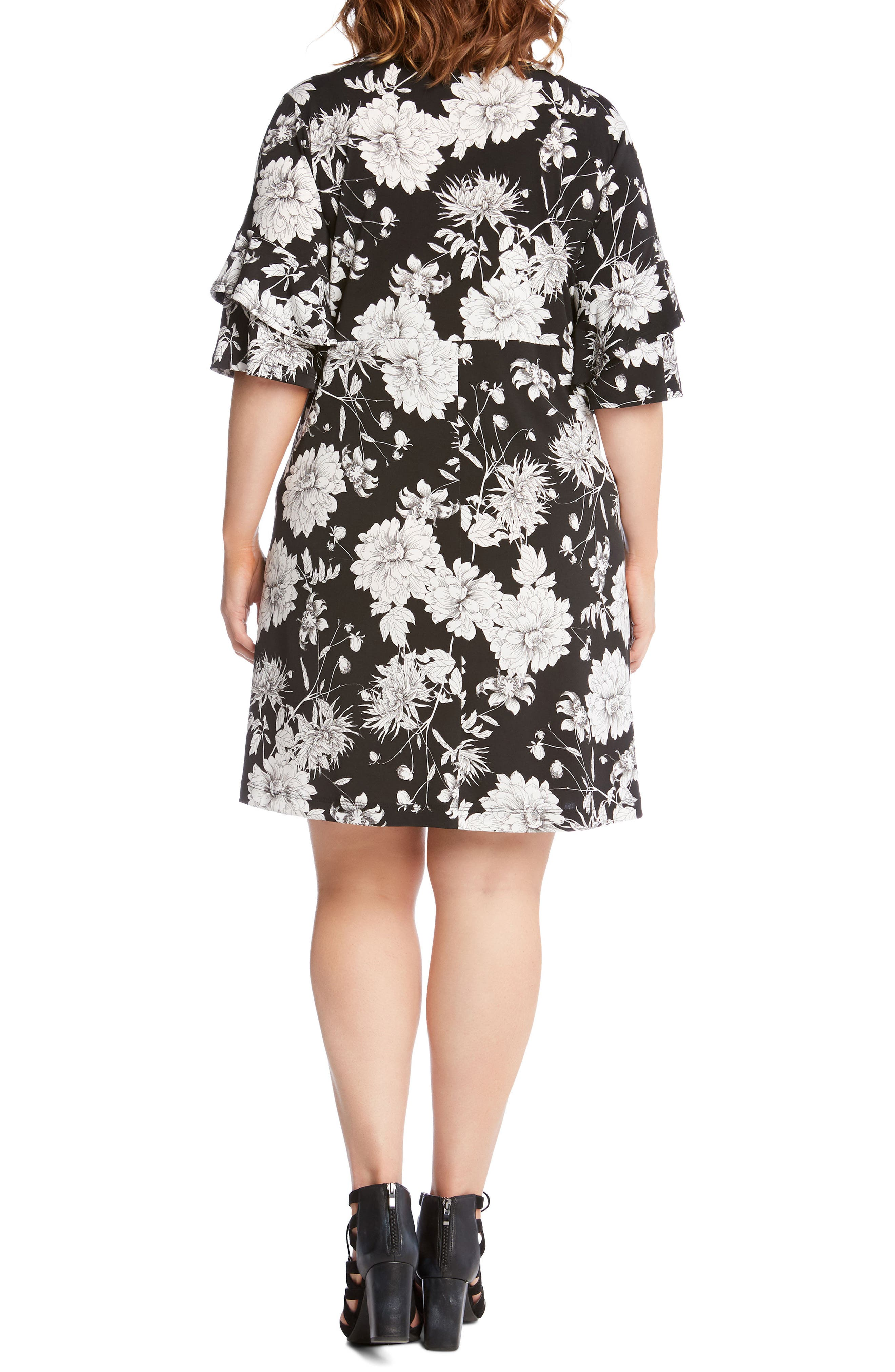 Floral Ruffle Sleeve Shift Dress,                             Alternate thumbnail 2, color,                             400