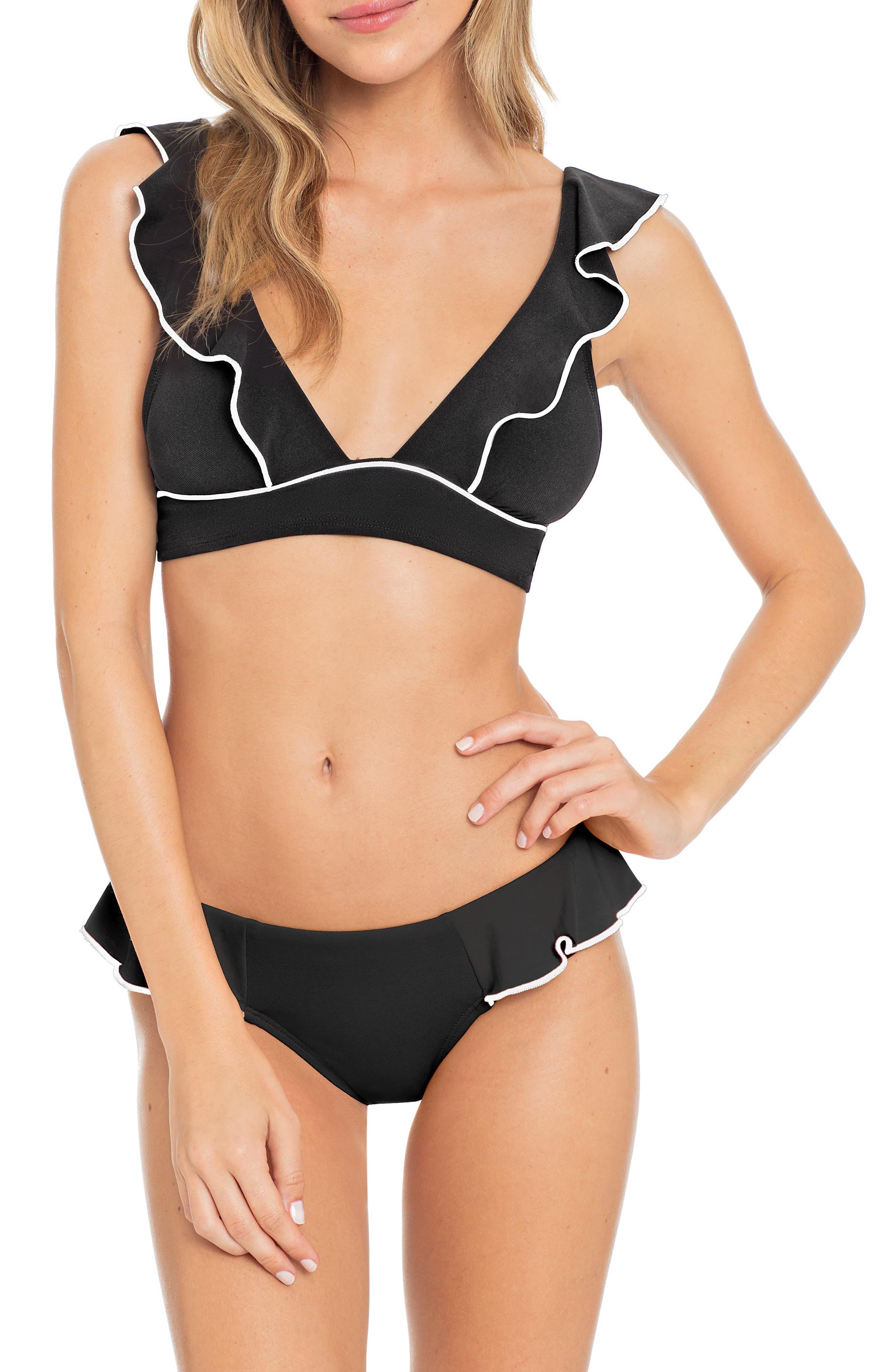Malia Ruffle Bikini Top,                             Alternate thumbnail 3, color,                             BLACK/ IVORY