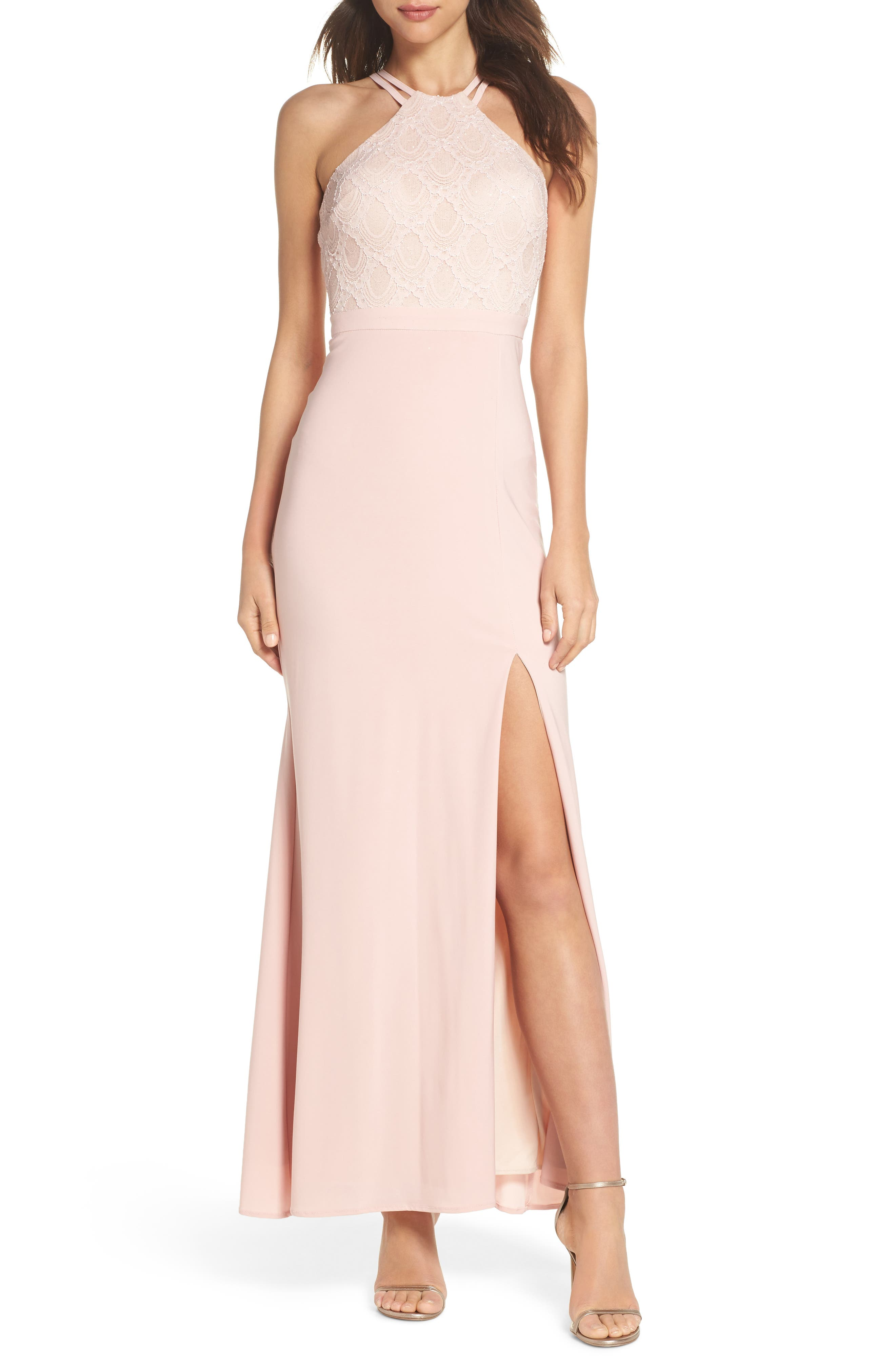 Lace Cutaway Bodice Gown,                             Main thumbnail 1, color,                             BLUSH / NUDE