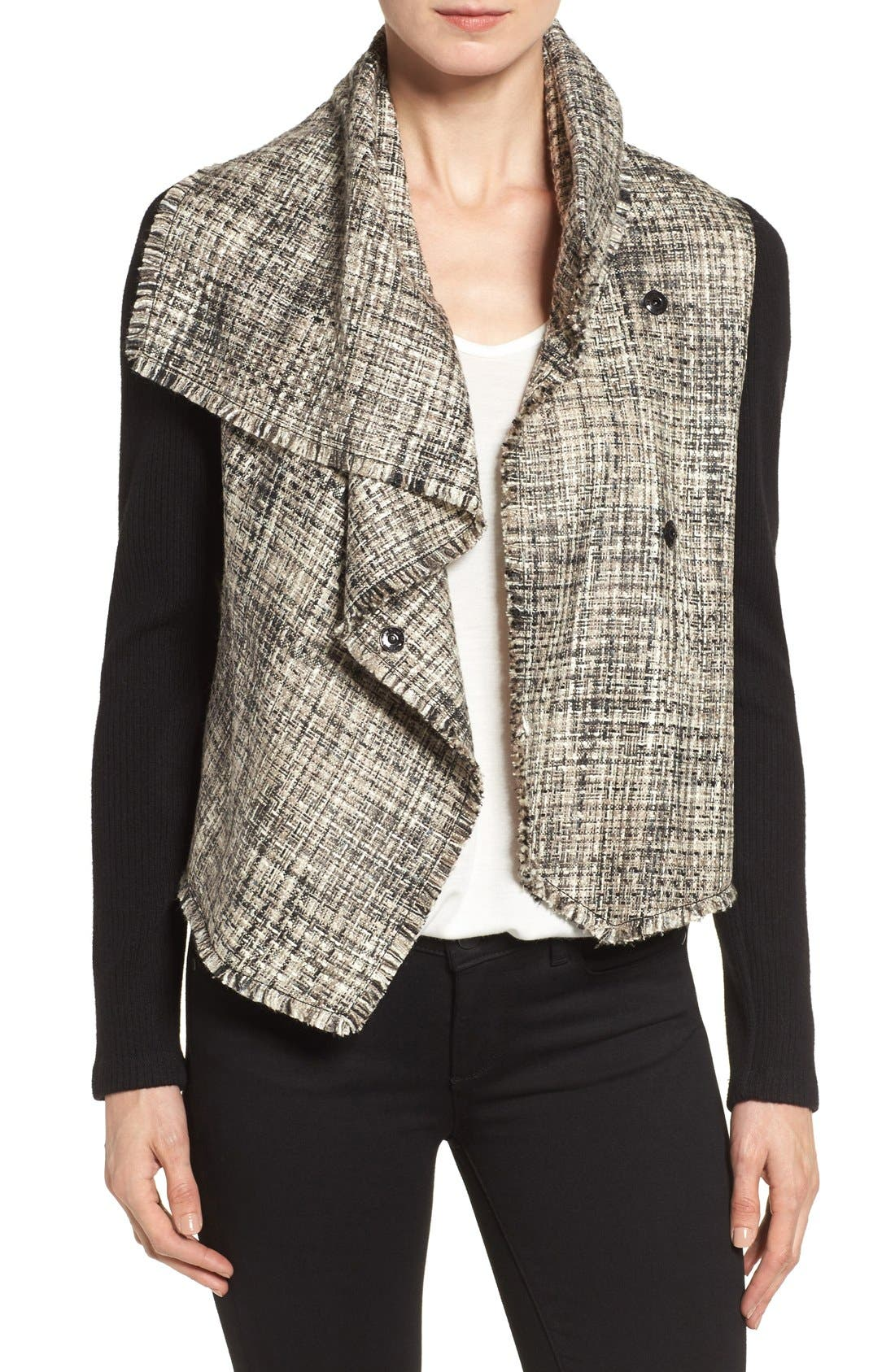 ANNE KLEIN Mixed Media Drape Front Jacket, Main, color, 001