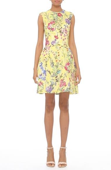 Garden Print Lace Fit & Flare Dress, video thumbnail