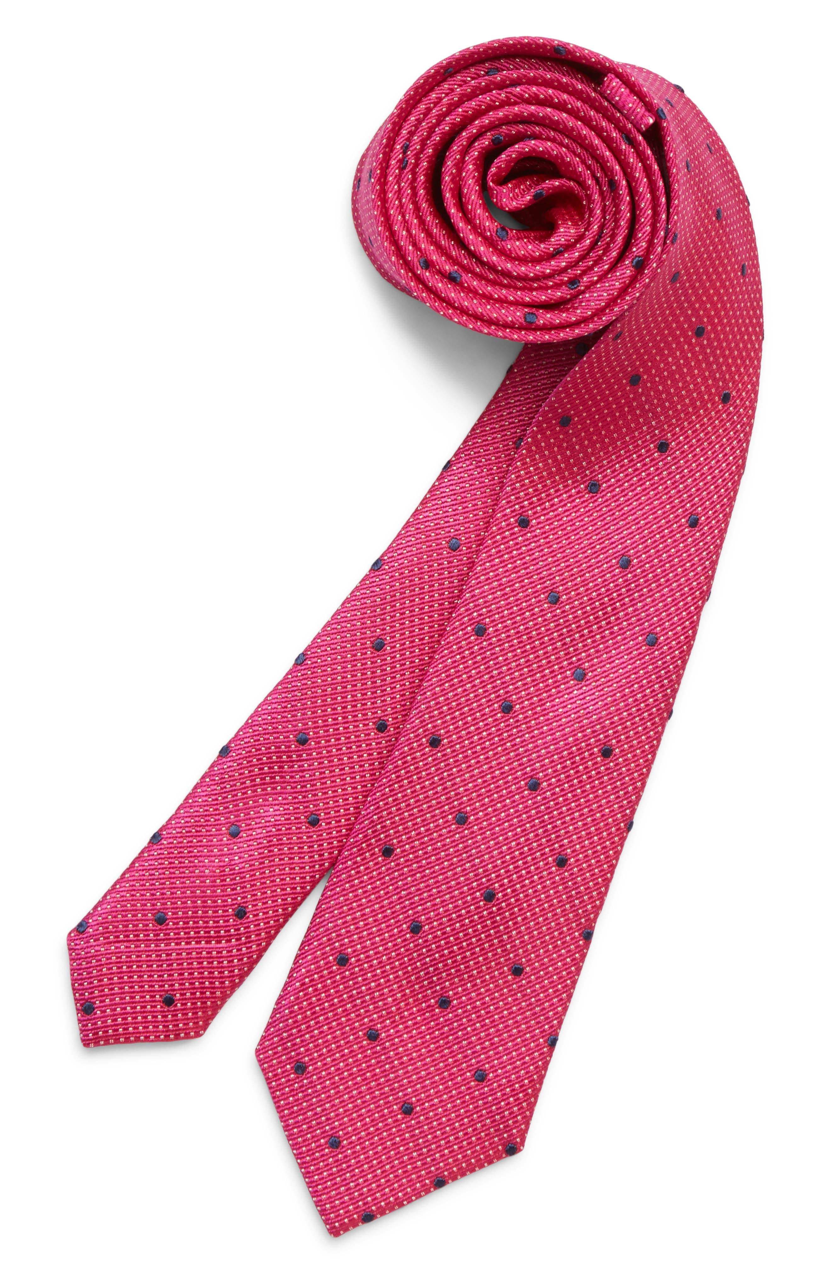 MICHAEL KORS Dot Silk Tie, Main, color, FUCHSIA