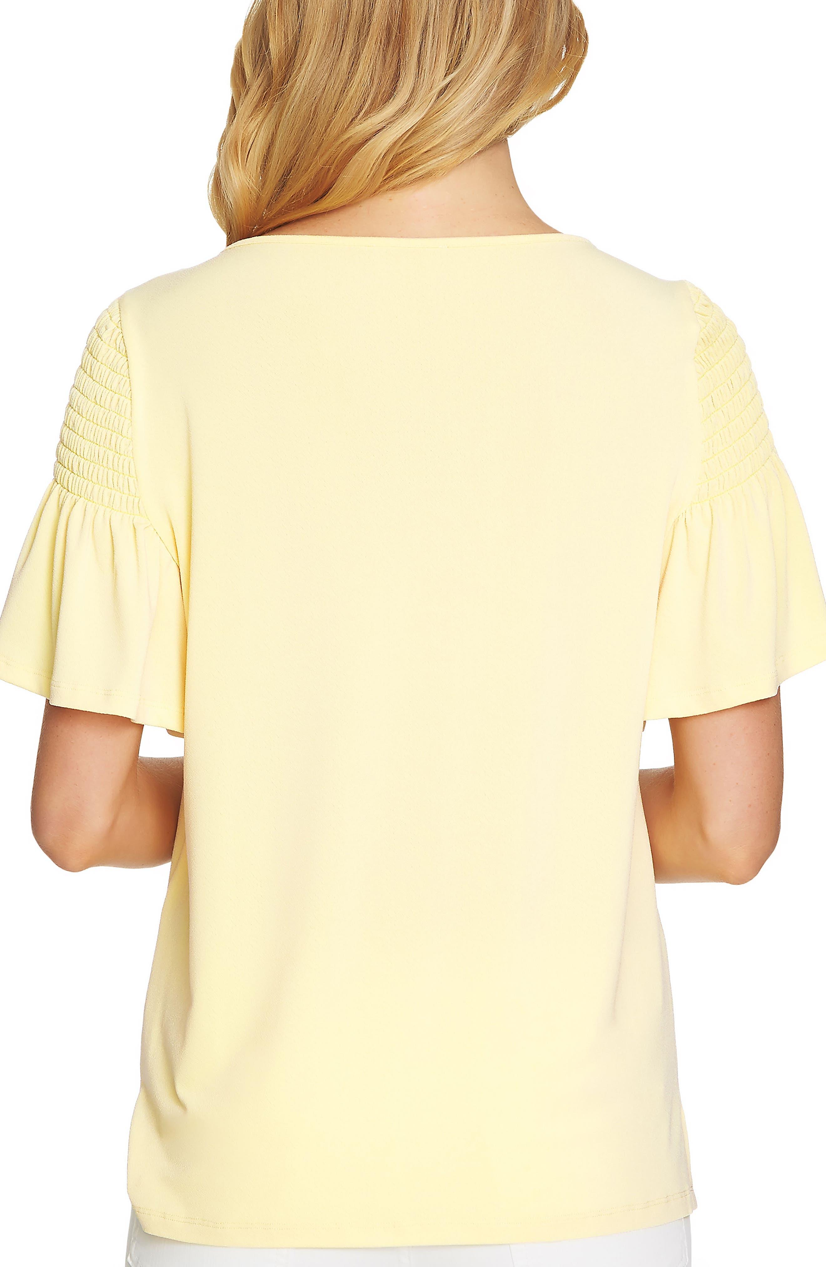 Flutter Sleeve Crepe Top,                             Alternate thumbnail 2, color,                             729