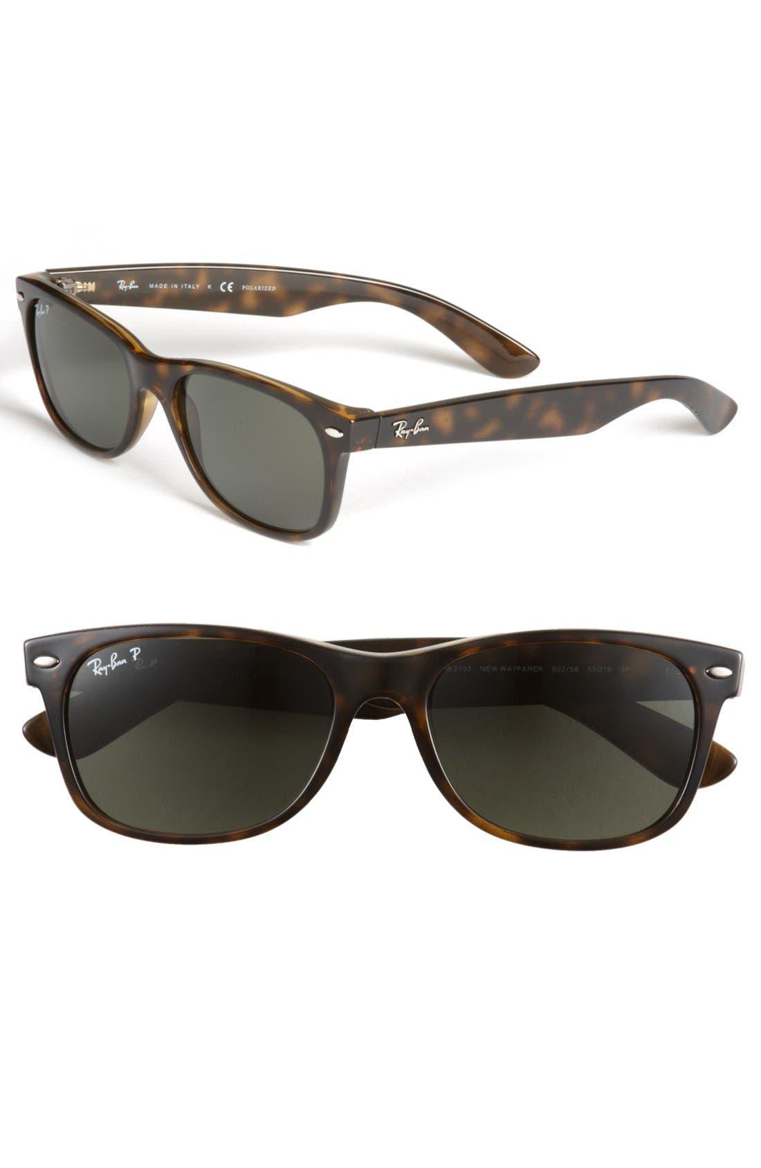 'New Wayfarer' 55mm Polarized Sunglasses,                             Main thumbnail 1, color,                             TORTOISE/ GREEN P