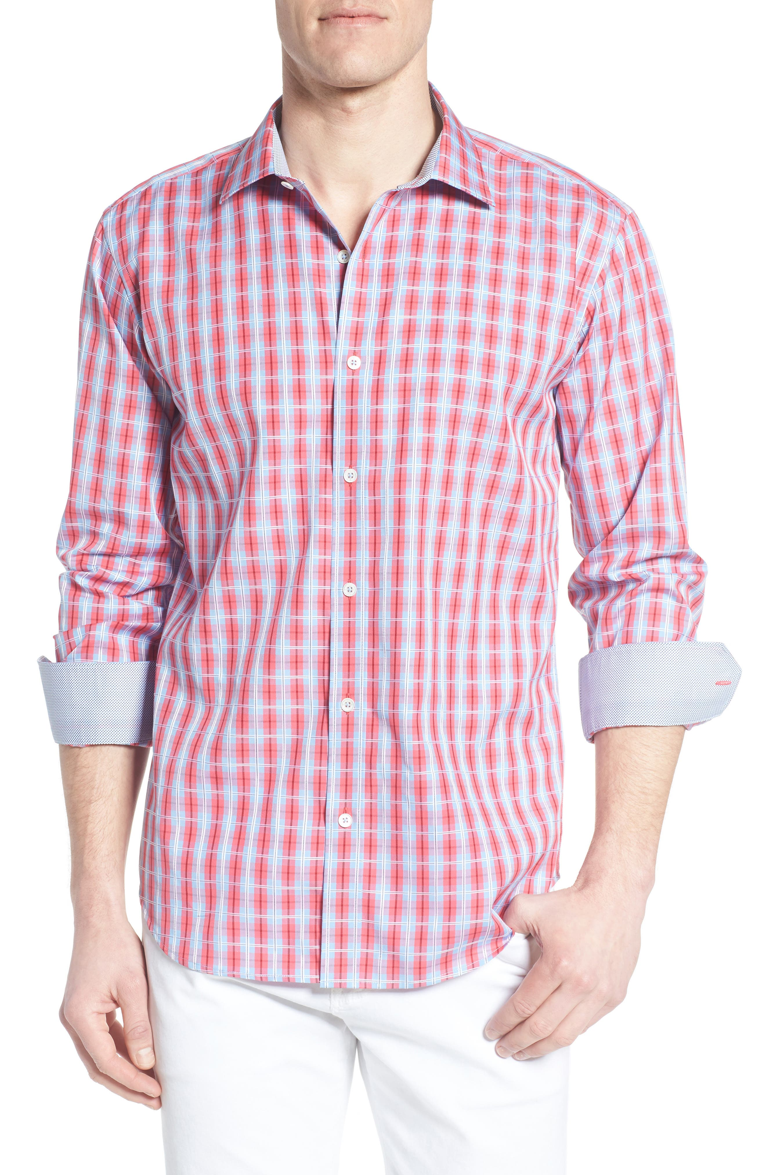 Shaped Fit Plaid Sport Shirt,                             Main thumbnail 1, color,                             537