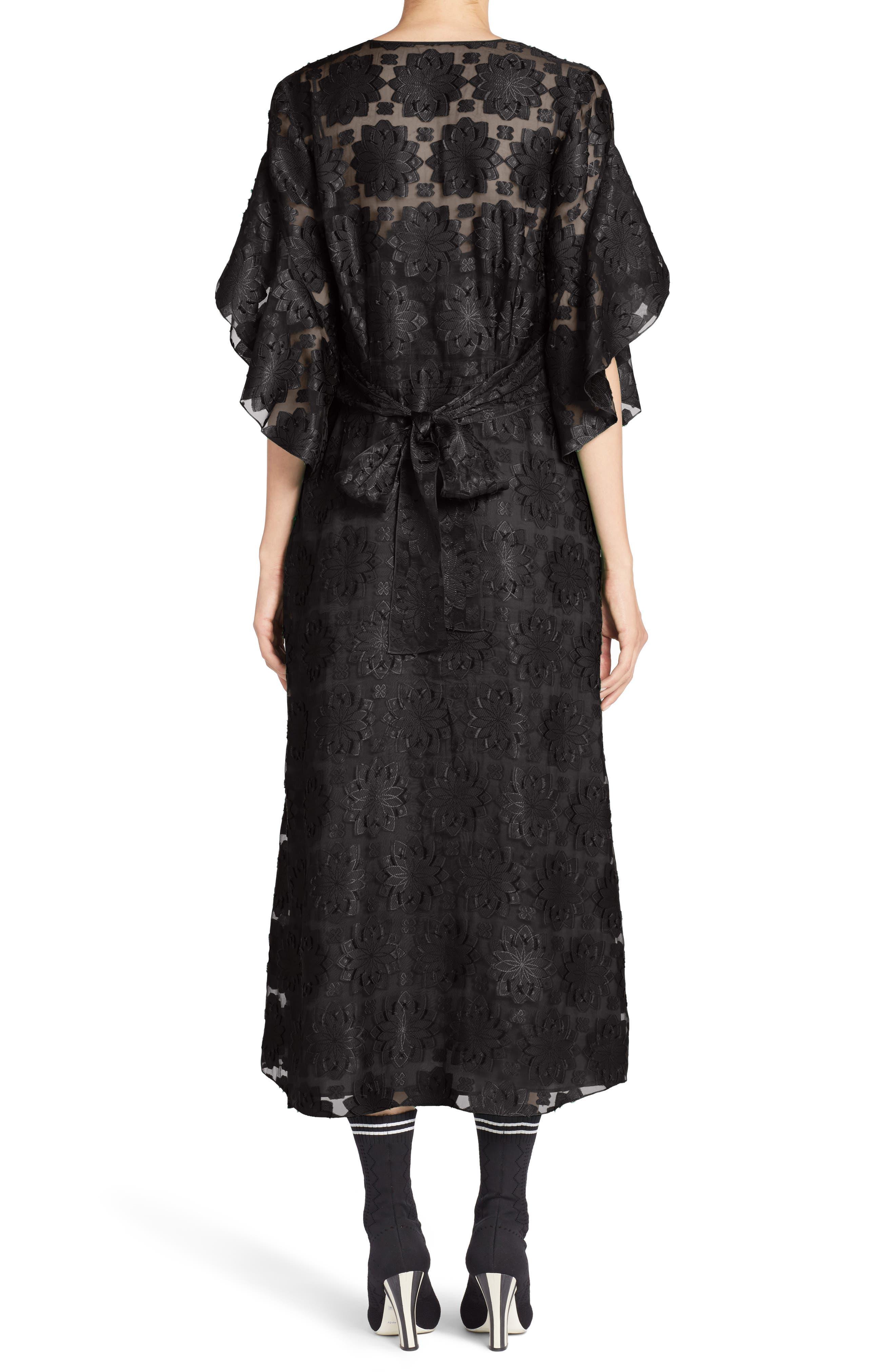 Daisy Fil Coupé Midi Dress,                             Alternate thumbnail 2, color,                             001