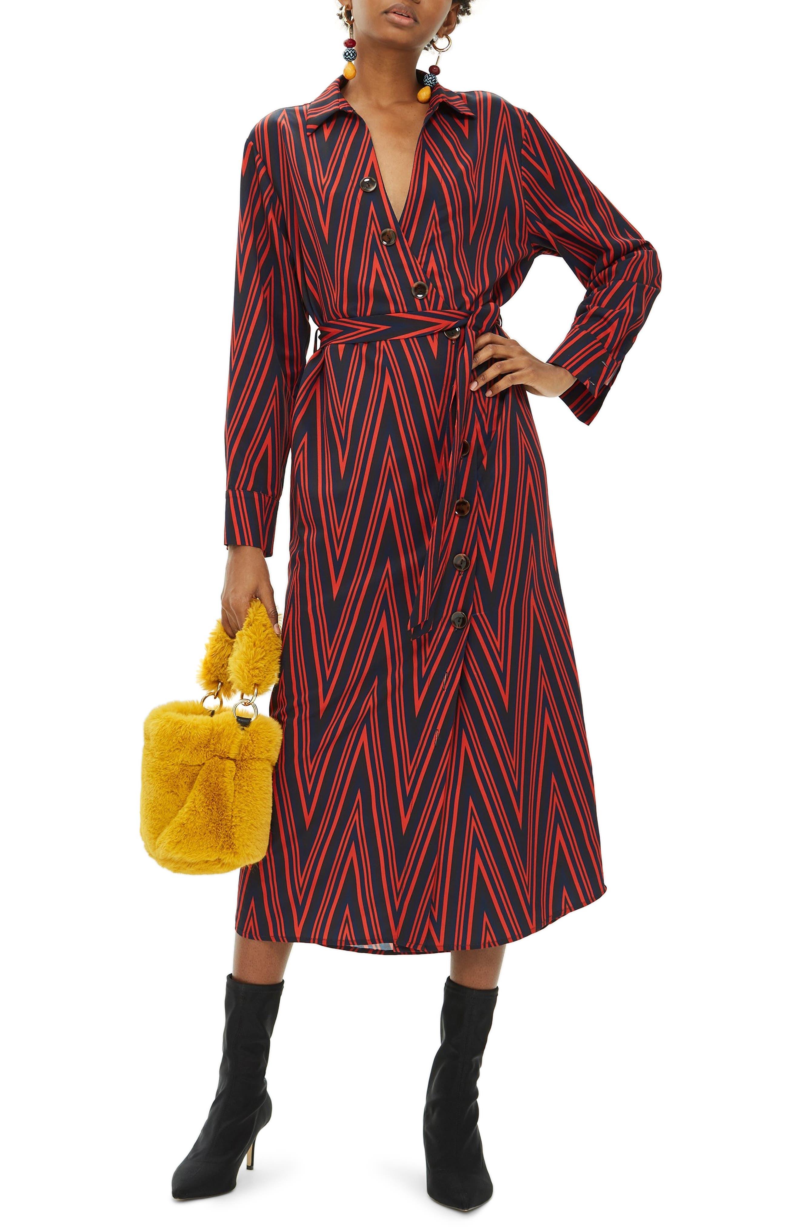 TOPSHOP Horn Button Print Midi Dress, Main, color, 220