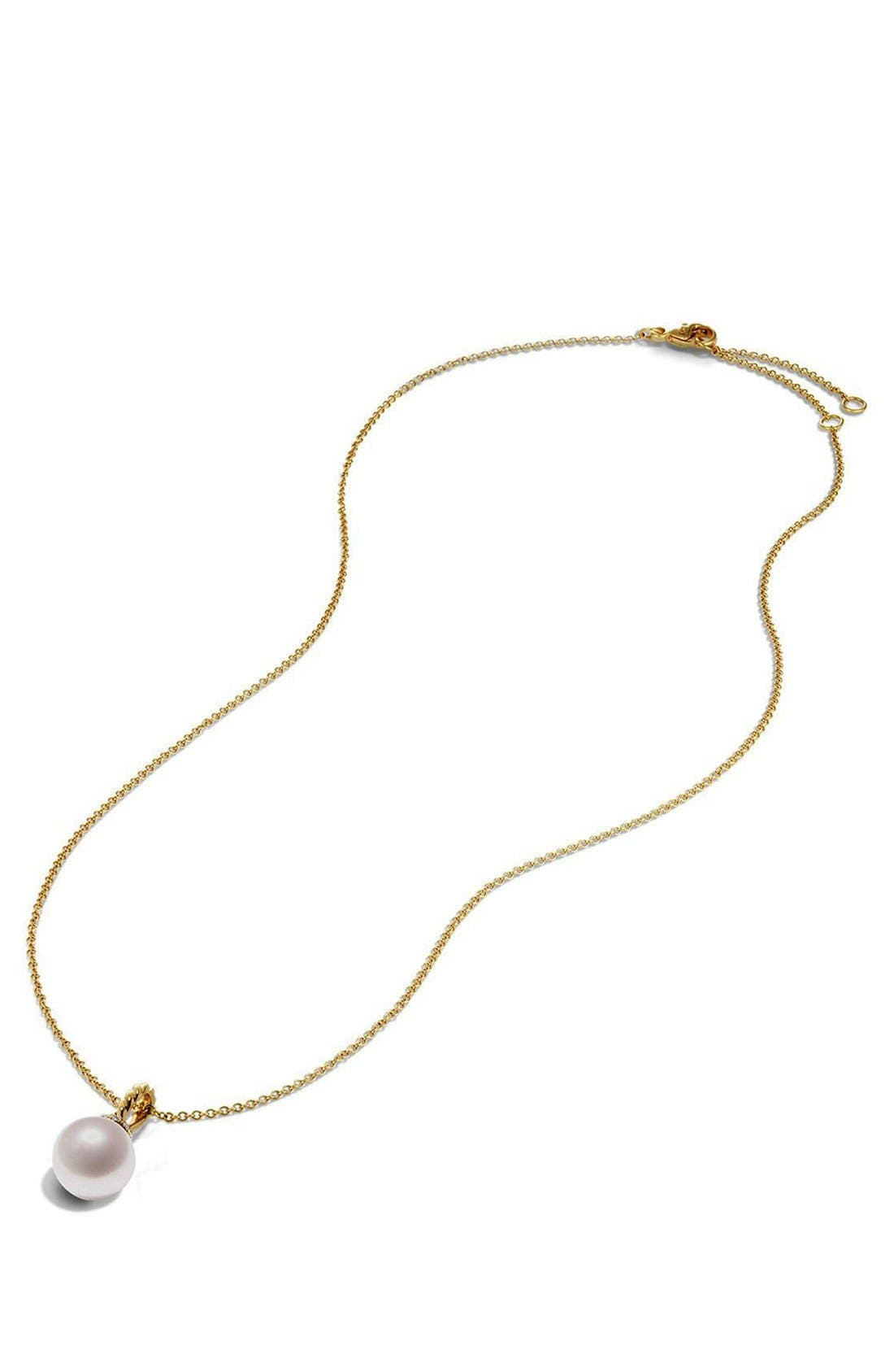 'Solari' Pendant Necklace with Pearls and Diamonds in 18K Gold,                             Alternate thumbnail 3, color,                             PEARL