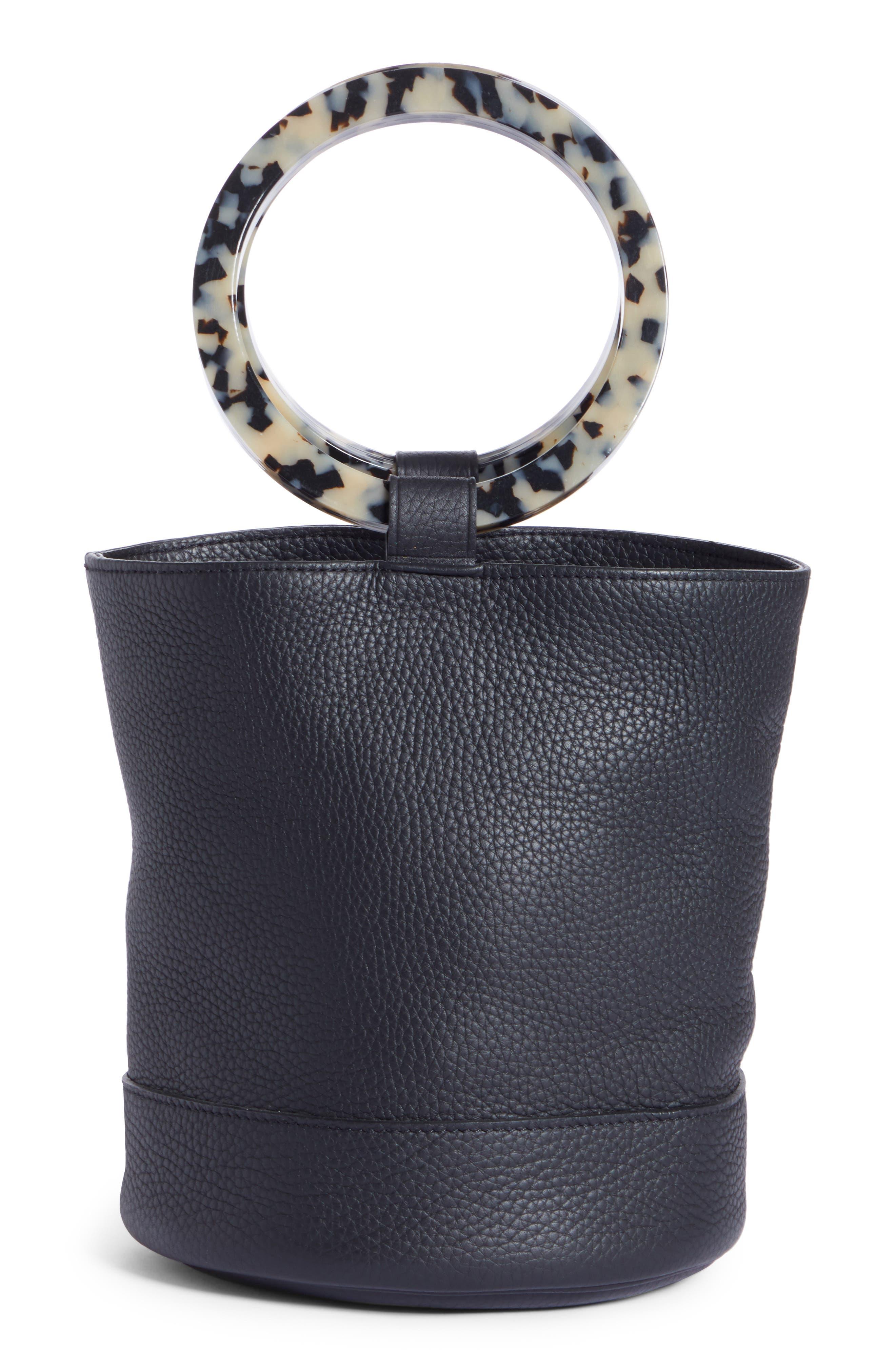 Bonsai 20 Pebbled Leather Bucket Bag,                         Main,                         color, 001