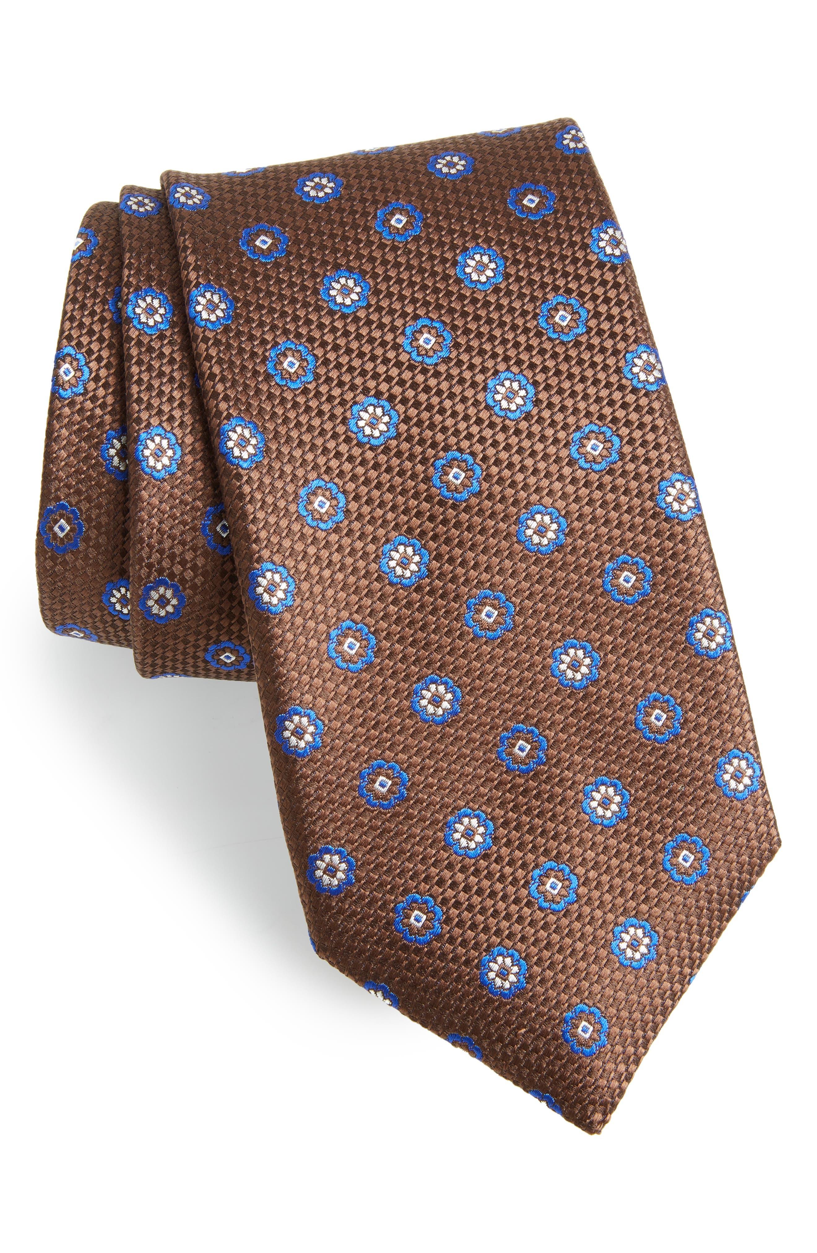 Medallion Silk Tie,                         Main,                         color, BROWN