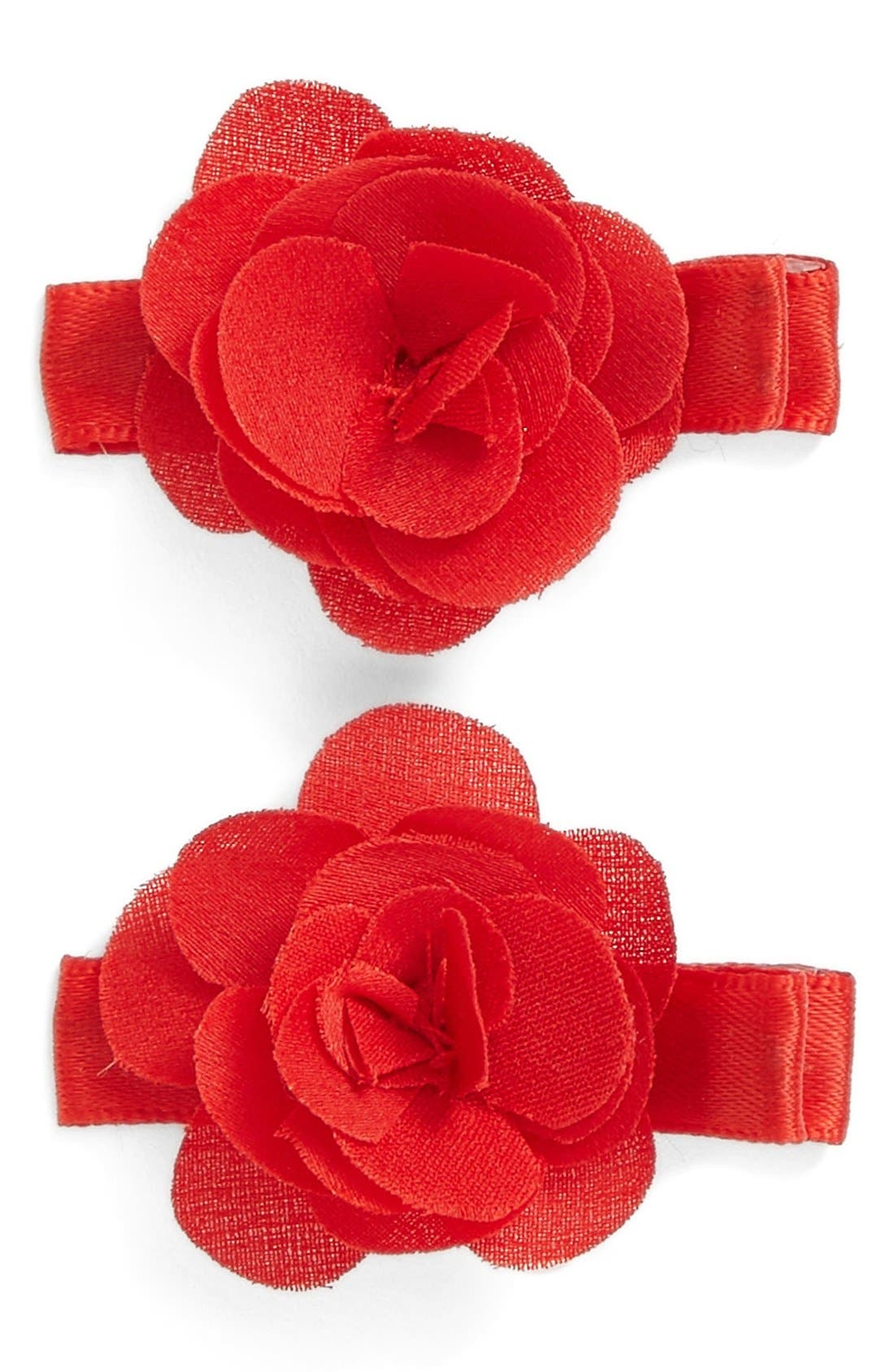 Set of 2 Flower Hair Clips,                             Main thumbnail 1, color,                             RED