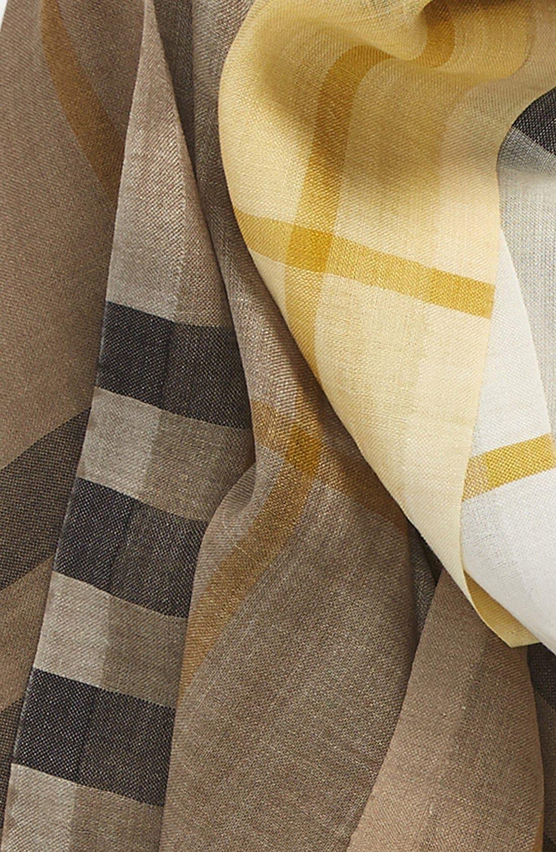 Ombré Check Wool & Silk Scarf,                             Alternate thumbnail 12, color,