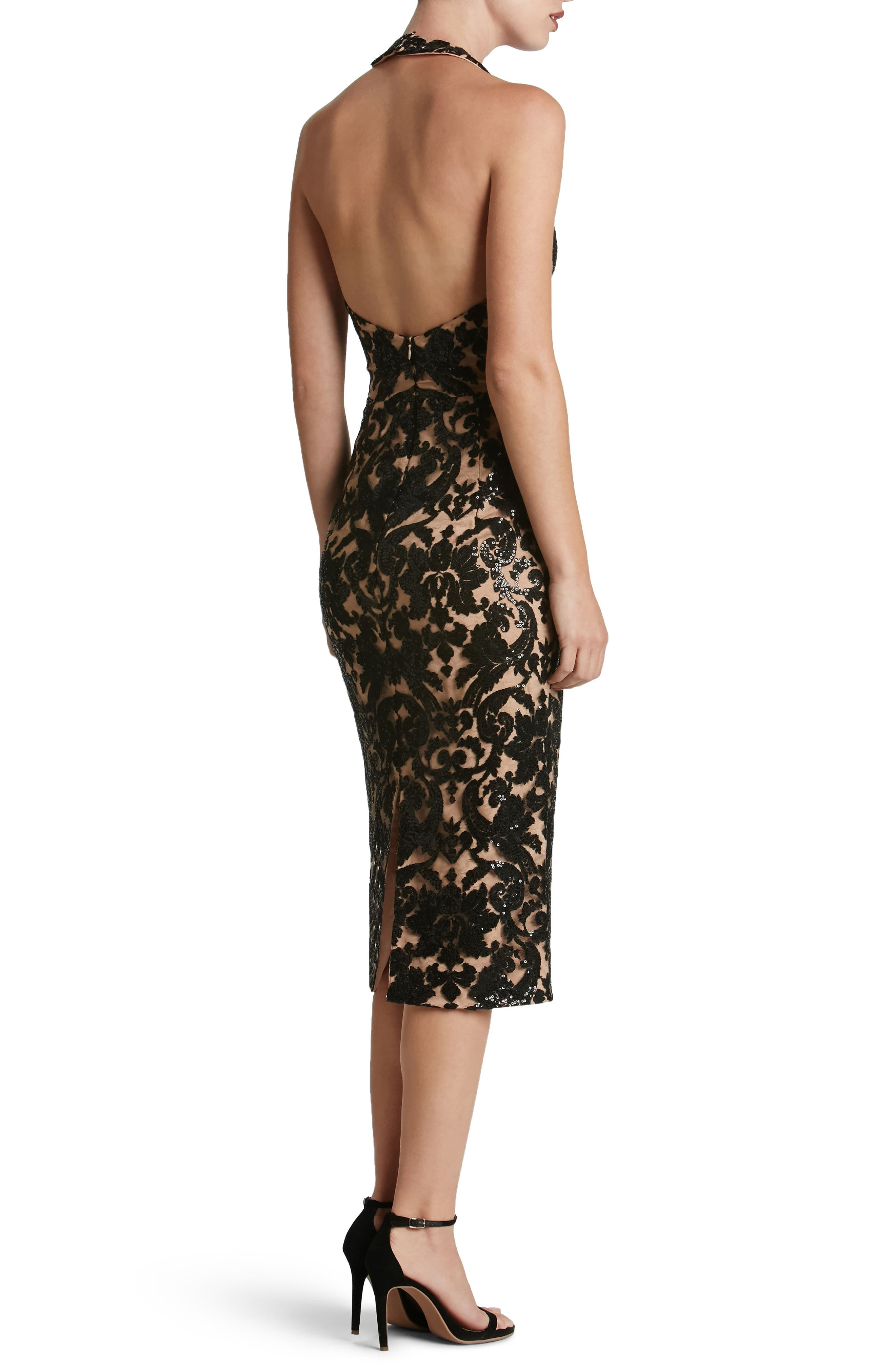 Cassie Sequin Midi Dress,                             Alternate thumbnail 2, color,                             002