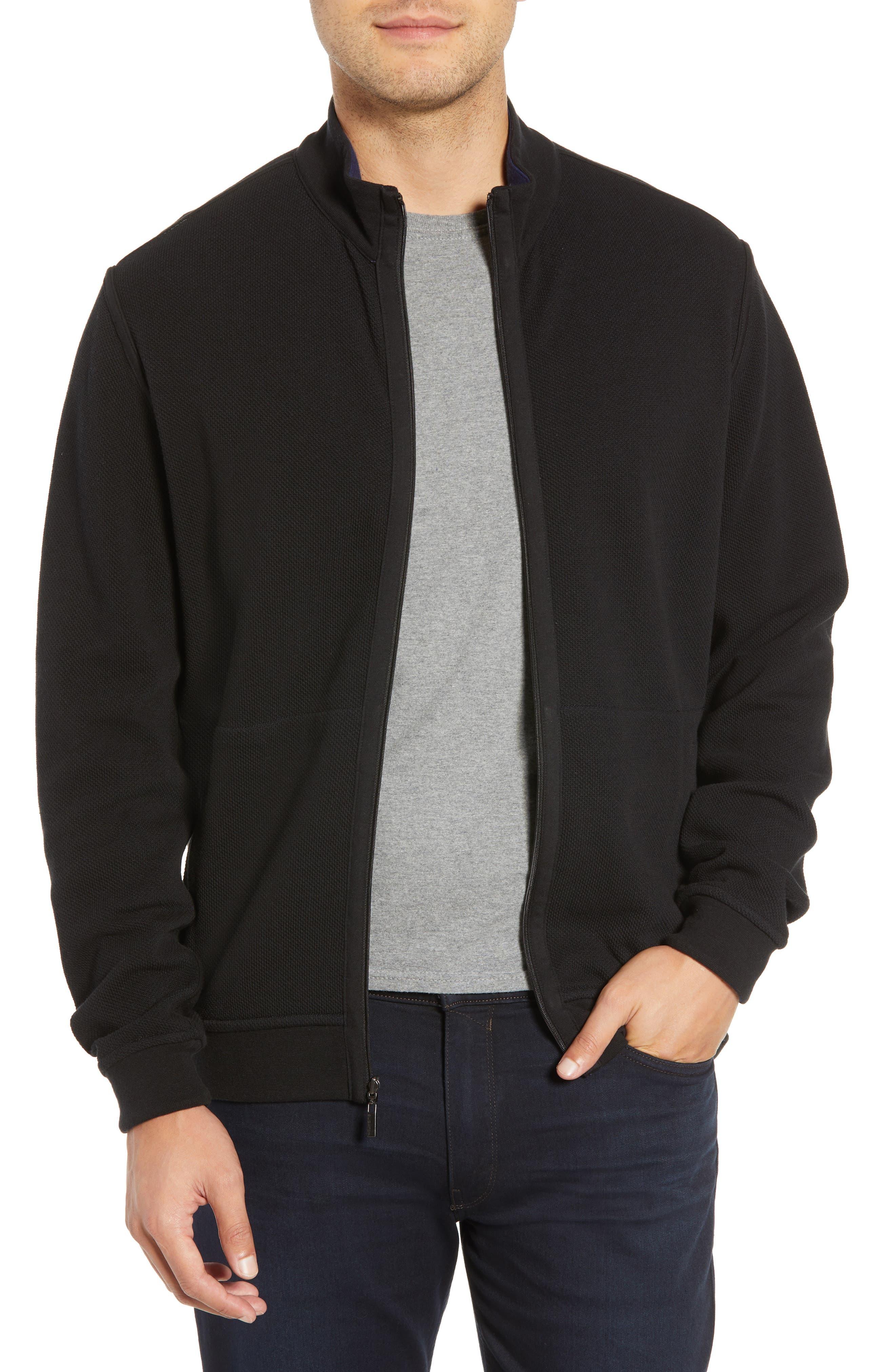 Bugatchi Reversible Knit Zip Cardigan, Black