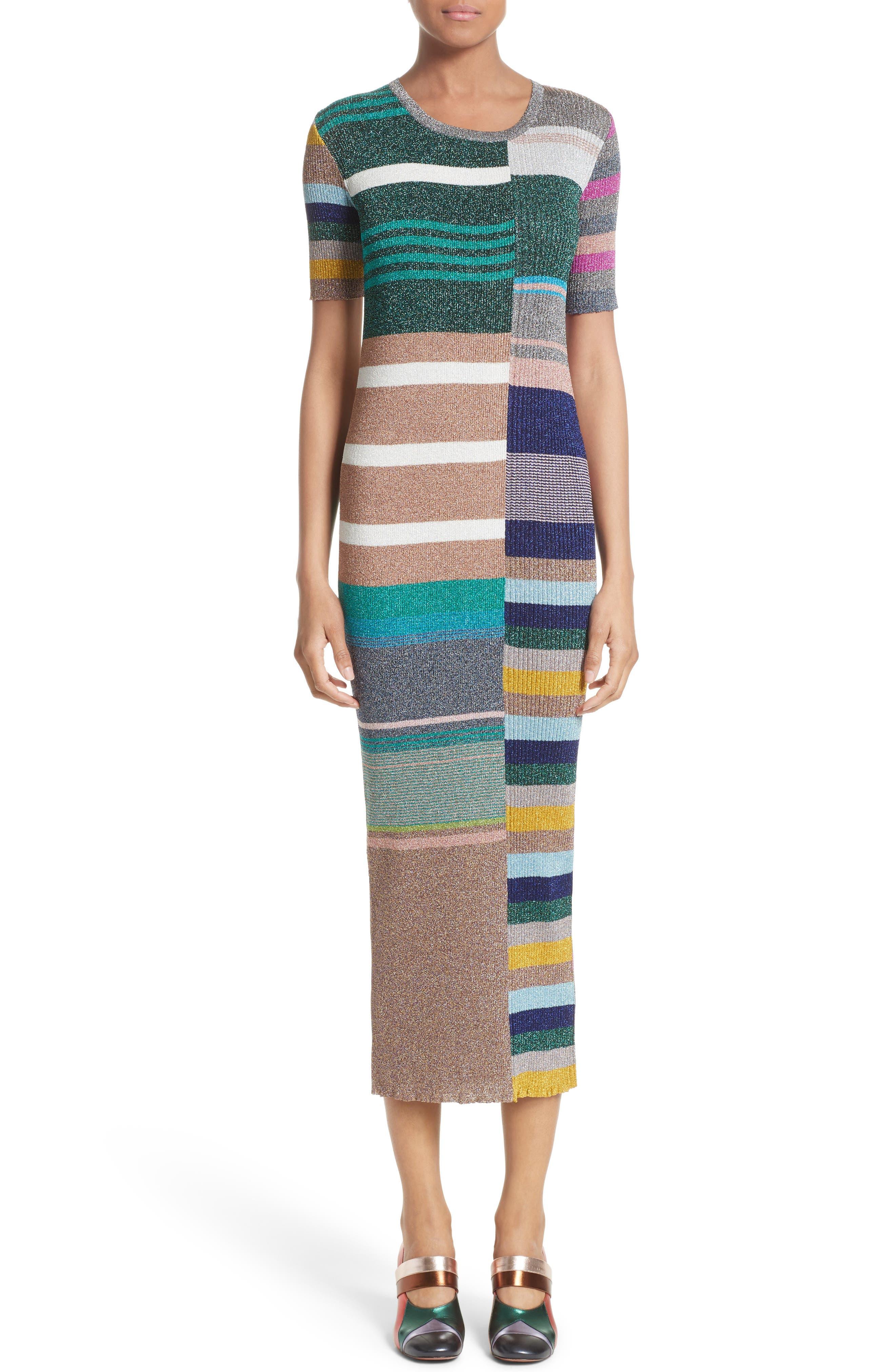 Metallic Stripe Rib Knit Dress,                             Main thumbnail 1, color,                             001