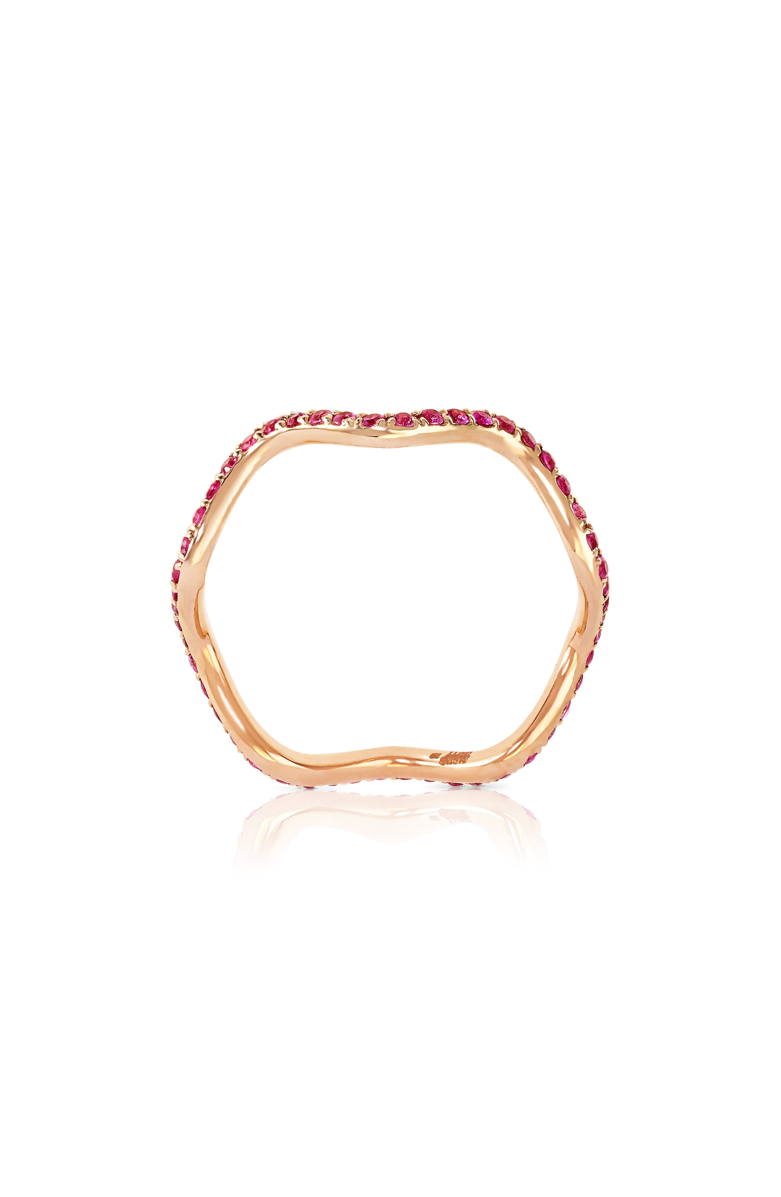 Baby Memphis Pink Sapphire Wave Band Ring,                             Main thumbnail 1, color,                             ROSE GOLD PINK SAPPHIRE