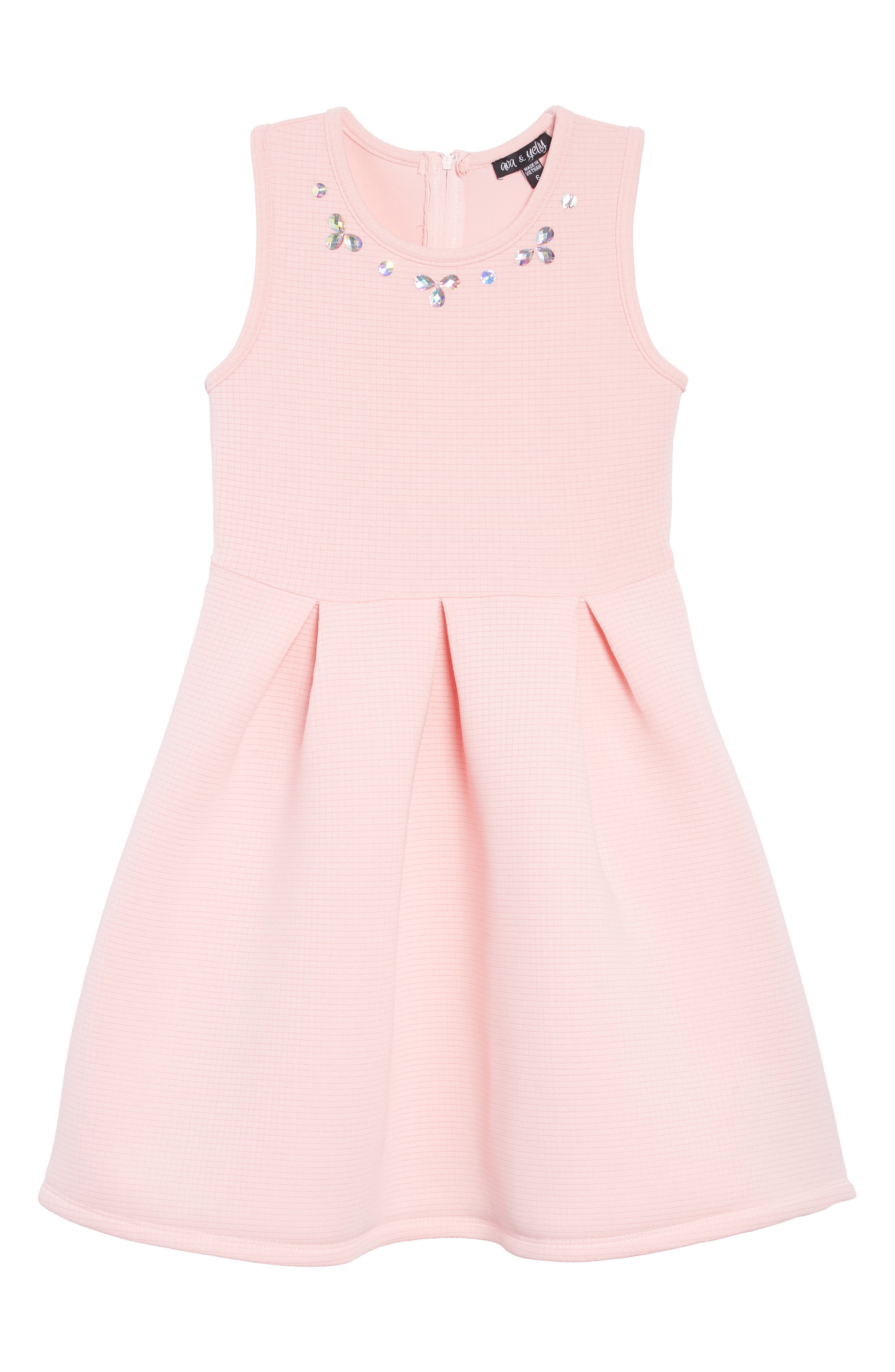 Pleated Fit & Flare Tank Dress,                         Main,                         color, 680