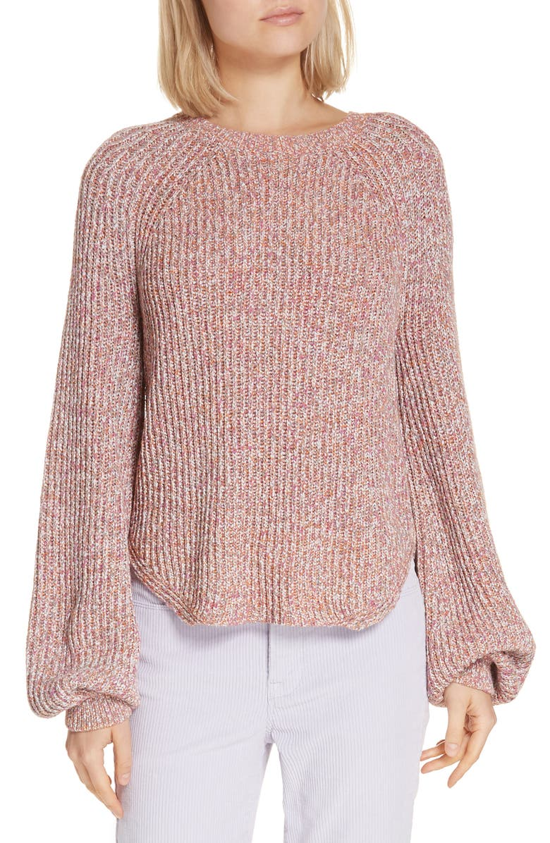 Frame Cottons MARLED PUFF SLEEVE SWEATER