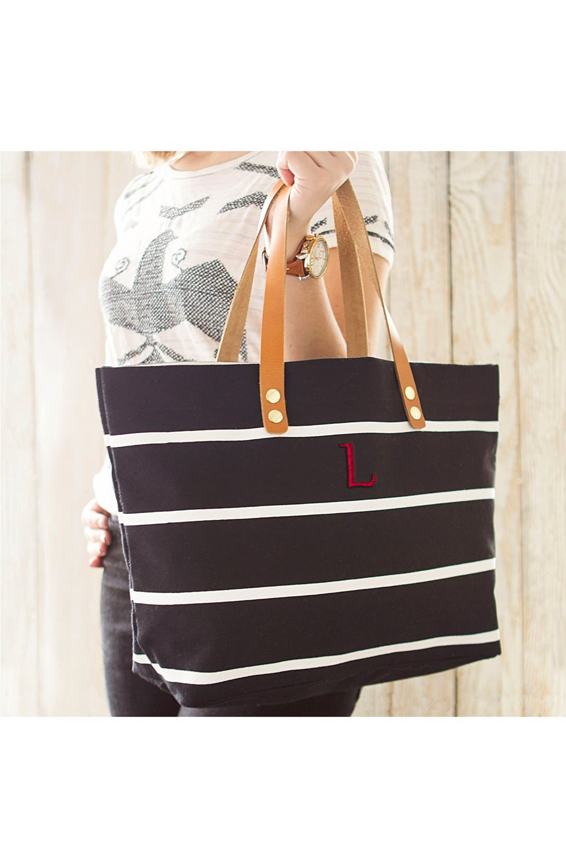 Monogram Stripe Tote,                             Alternate thumbnail 406, color,