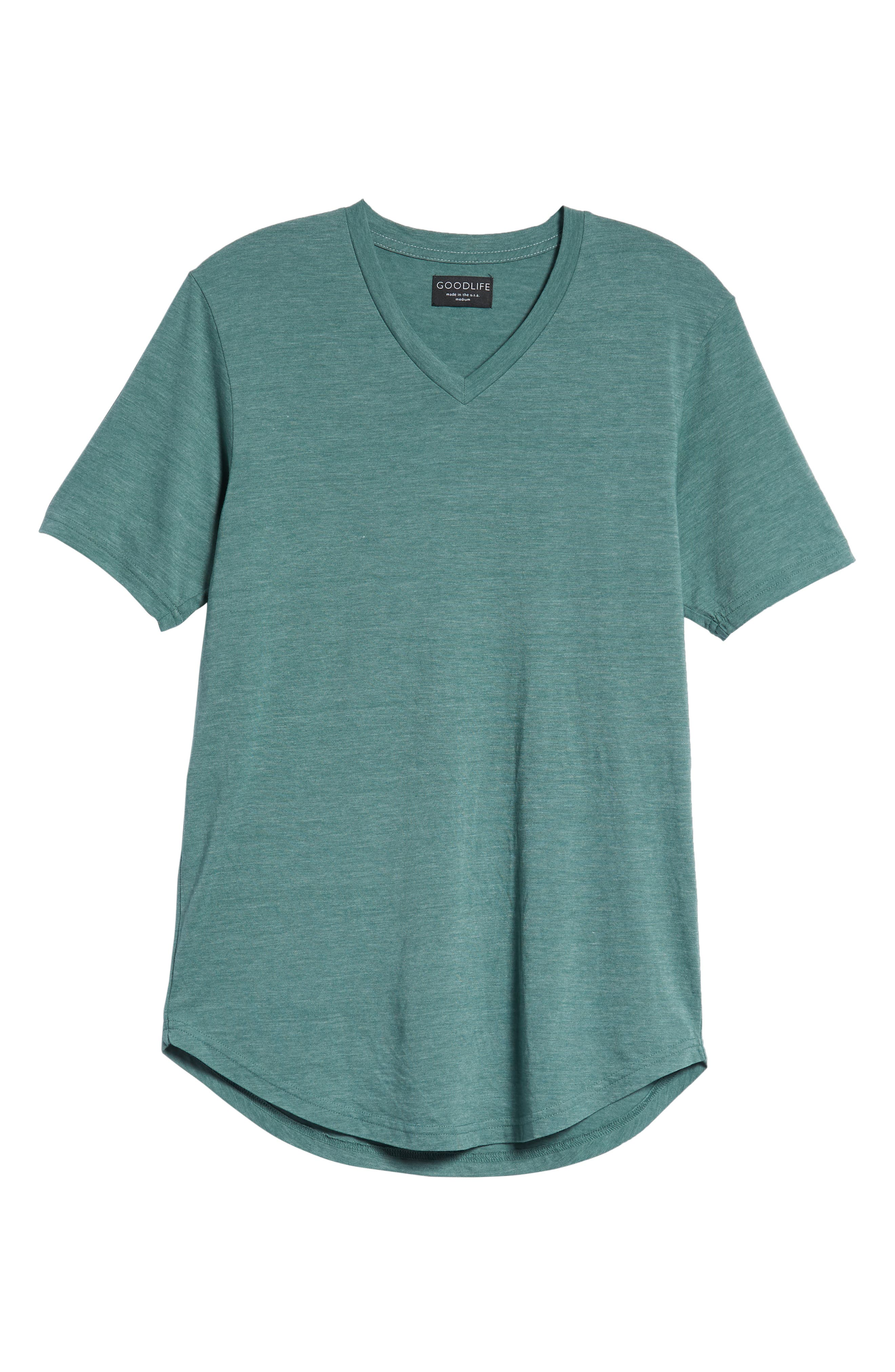 Scallop Triblend V-Neck T-Shirt,                             Alternate thumbnail 120, color,