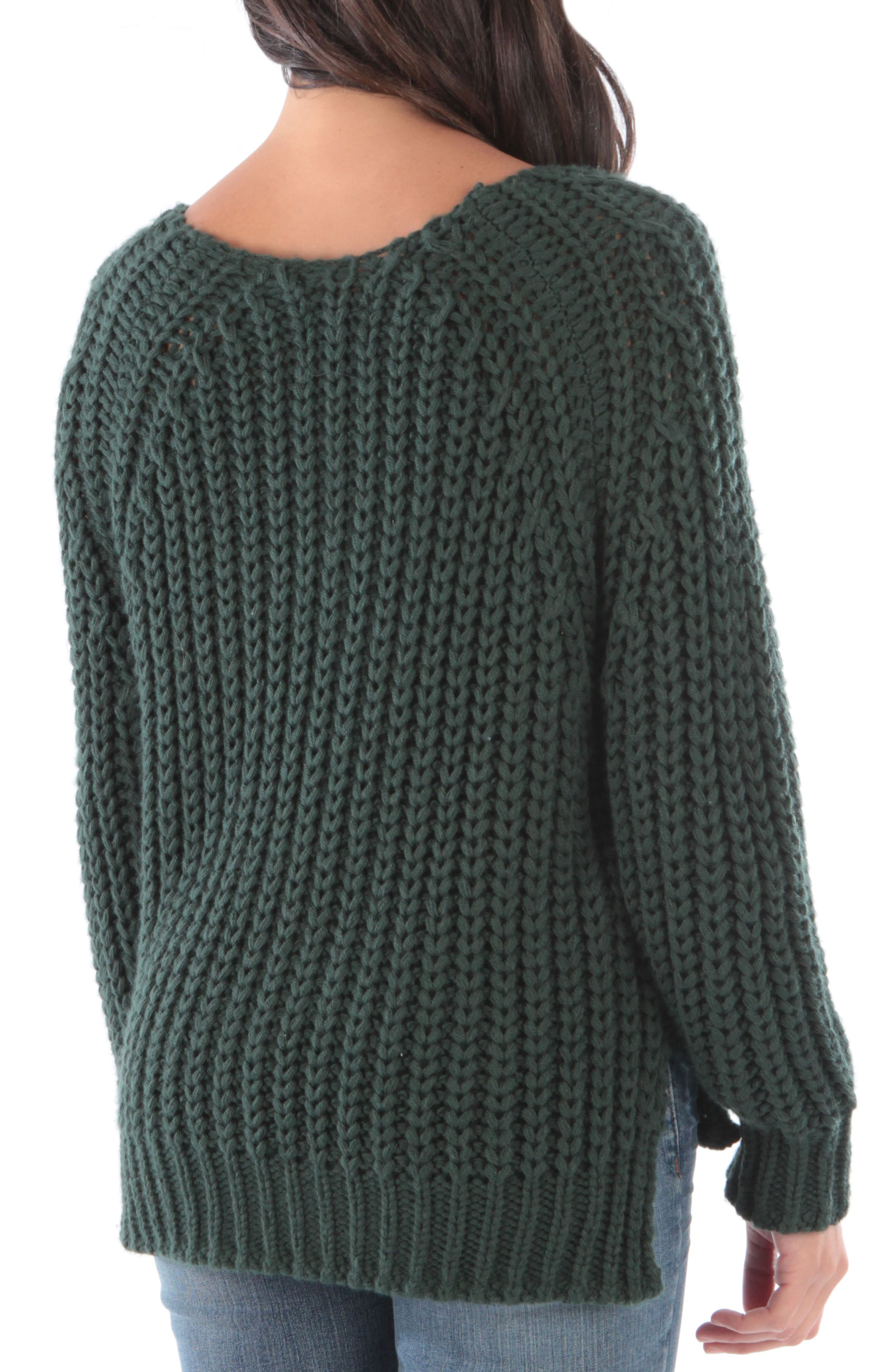 Valeria Sweater,                             Alternate thumbnail 2, color,                             FOREST GREEN