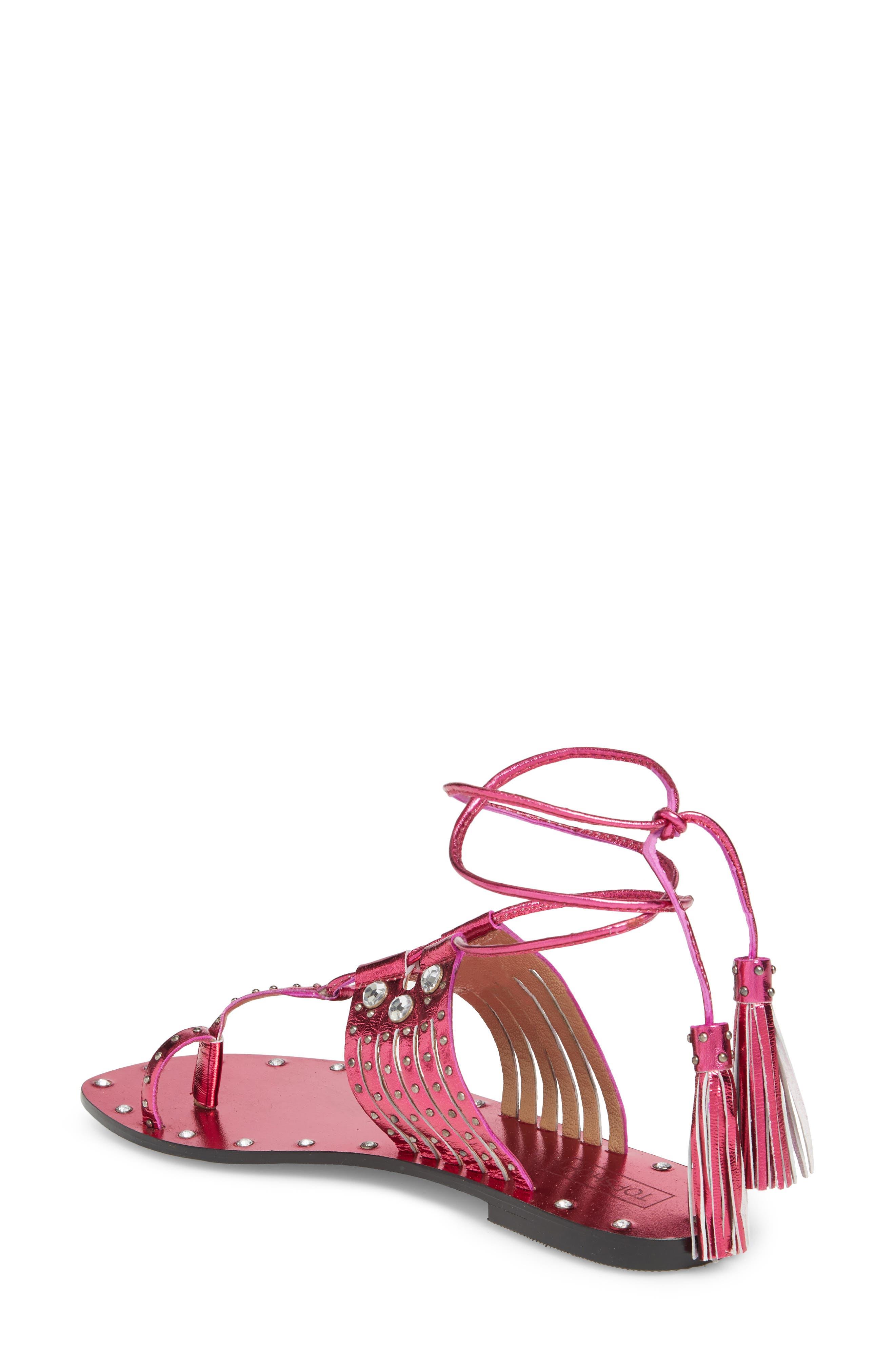 Fay Embellished Wraparound Sandal,                             Alternate thumbnail 6, color,