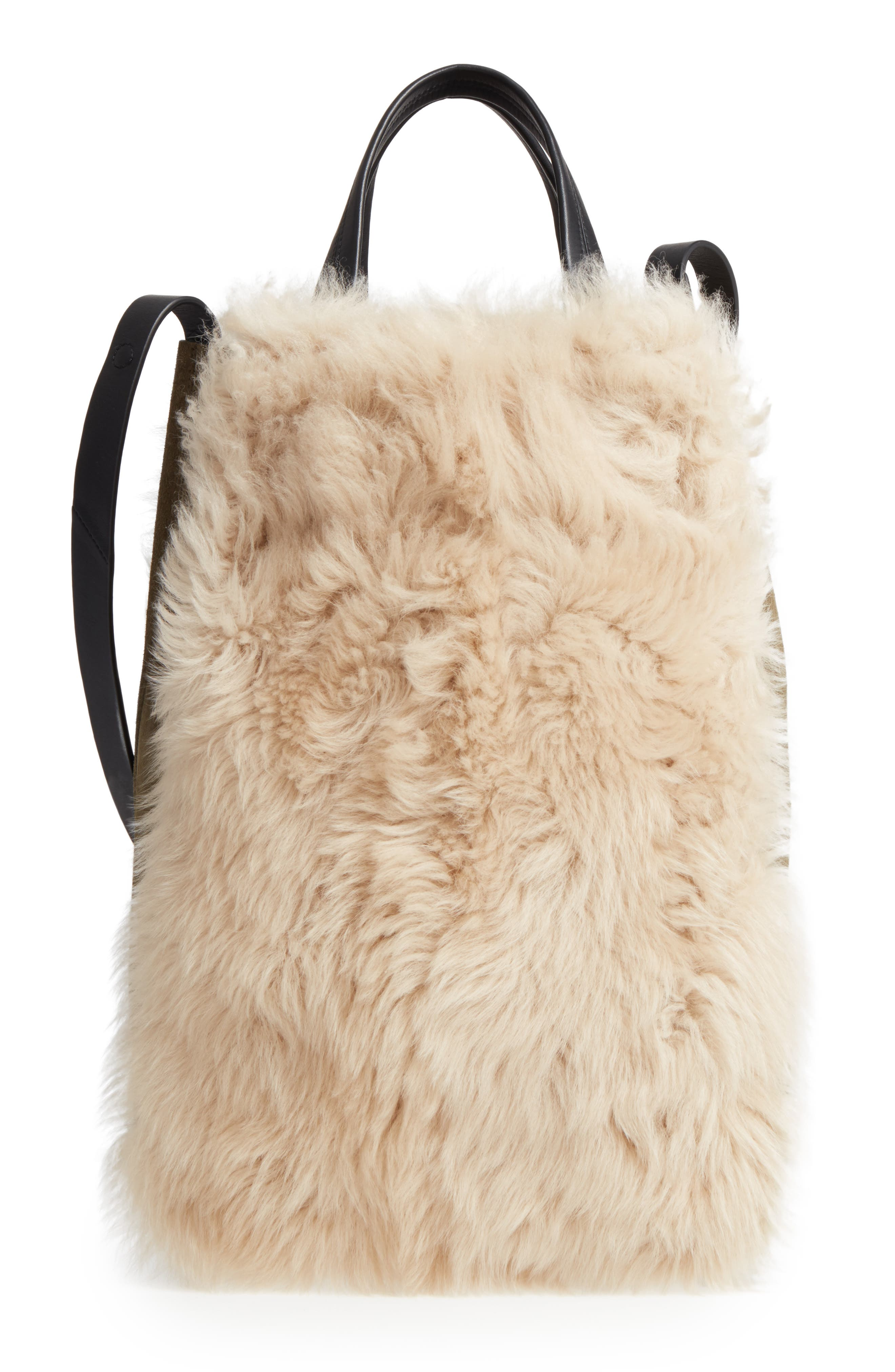 Walker Convertible Genuine Shearling & Suede Tote,                         Main,                         color, 900
