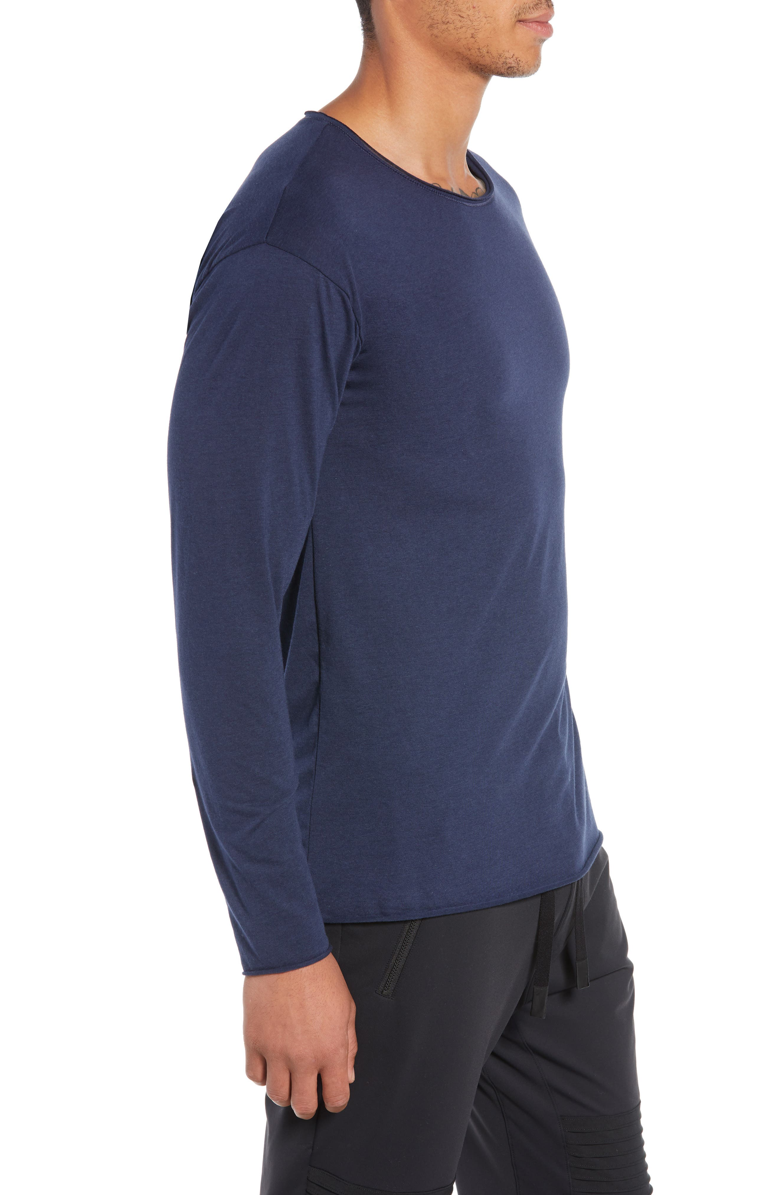 The Ultimate Long Sleeve Shirt,                             Alternate thumbnail 3, color,                             SOLID NAVY TRIBLEND
