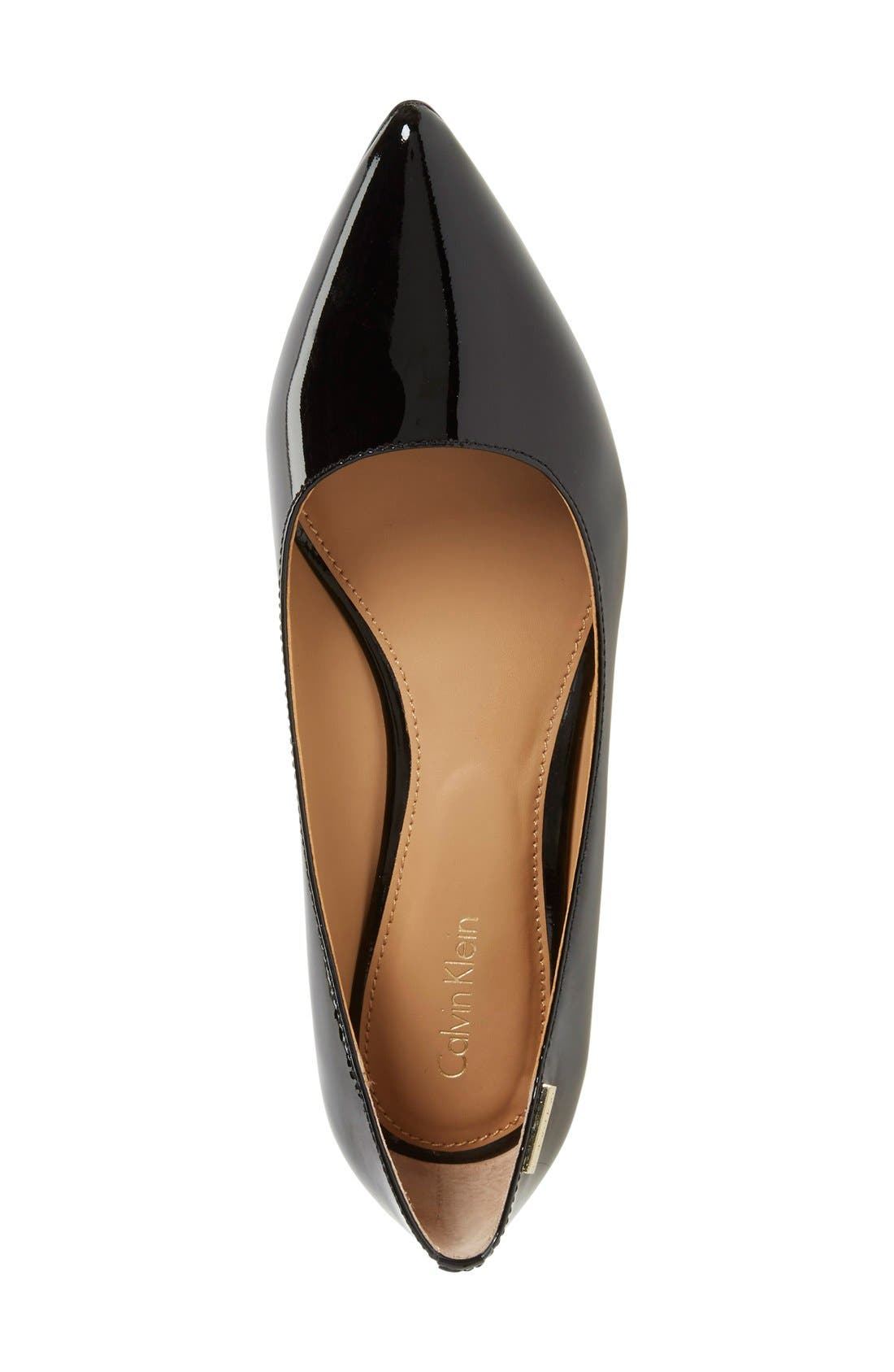 CALVIN KLEIN,                             'Germina' Pointy Toe Wedge,                             Alternate thumbnail 3, color,                             BLACK PATENT LEATHER