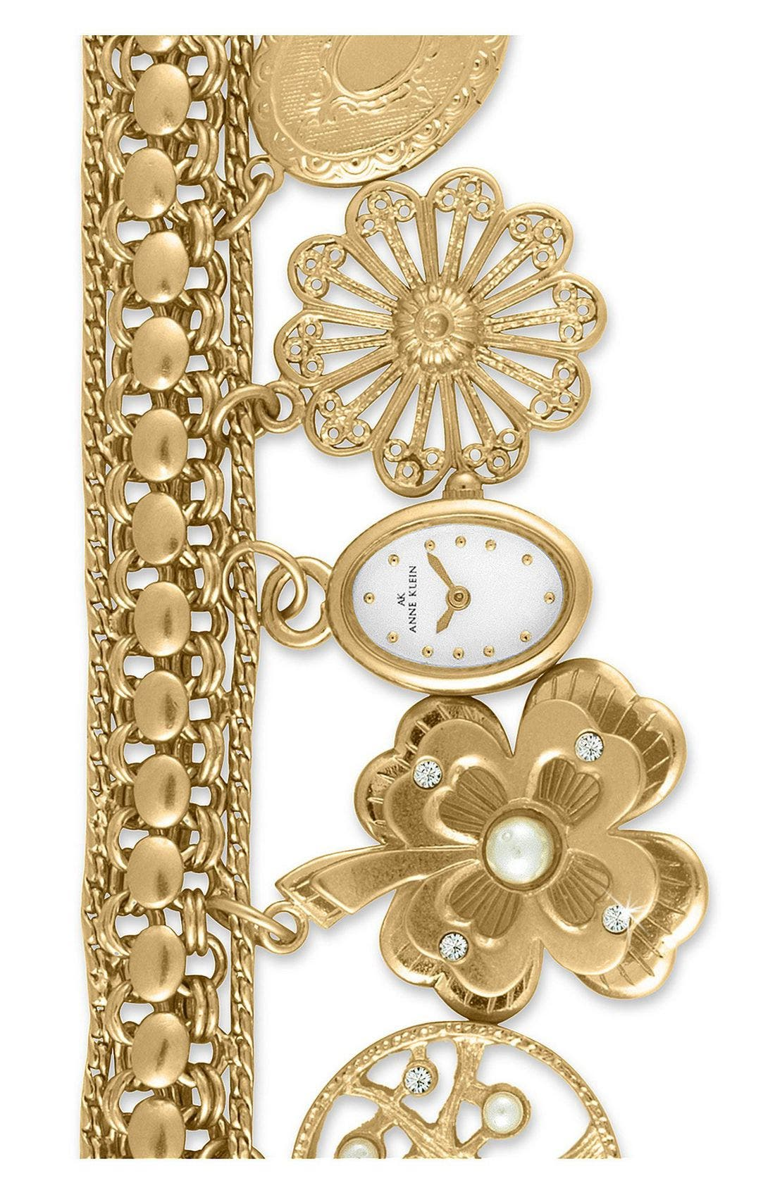 Oval Case Charm Bracelet Watch,                             Main thumbnail 1, color,                             GOLD